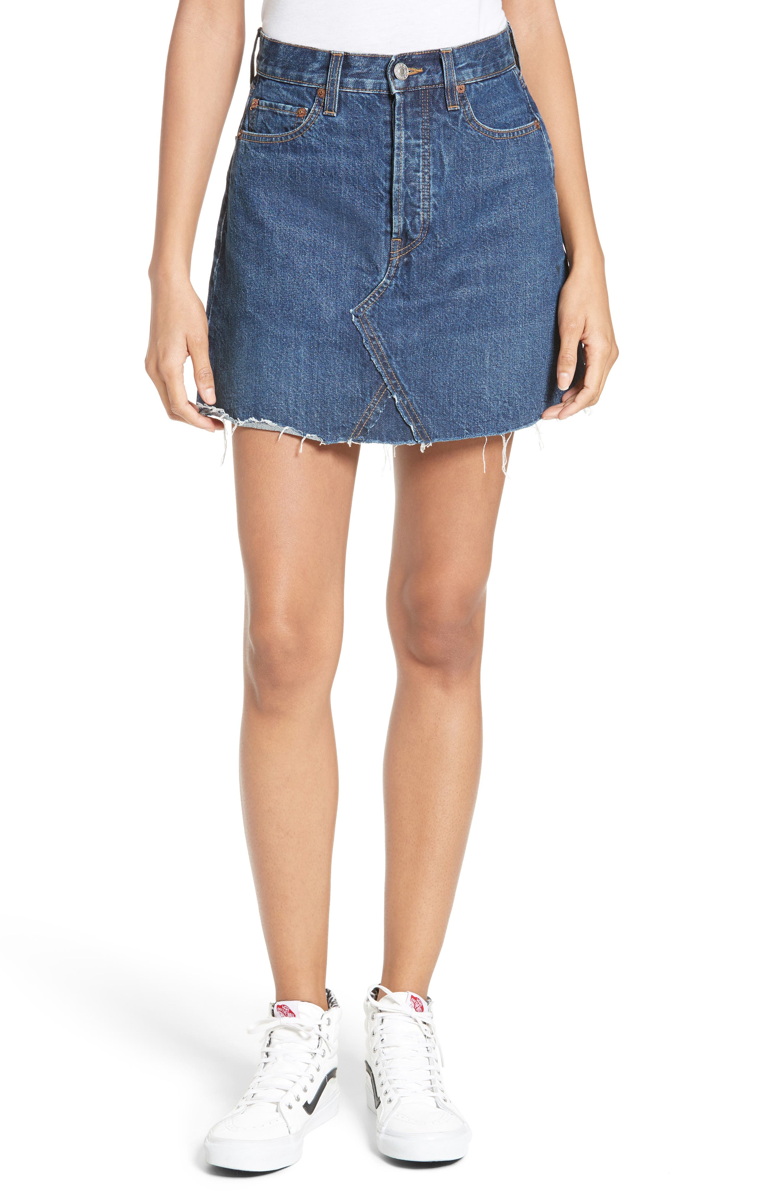 Originals High Waist Denim Miniskirt,                         Main,                         color, Dark Blue