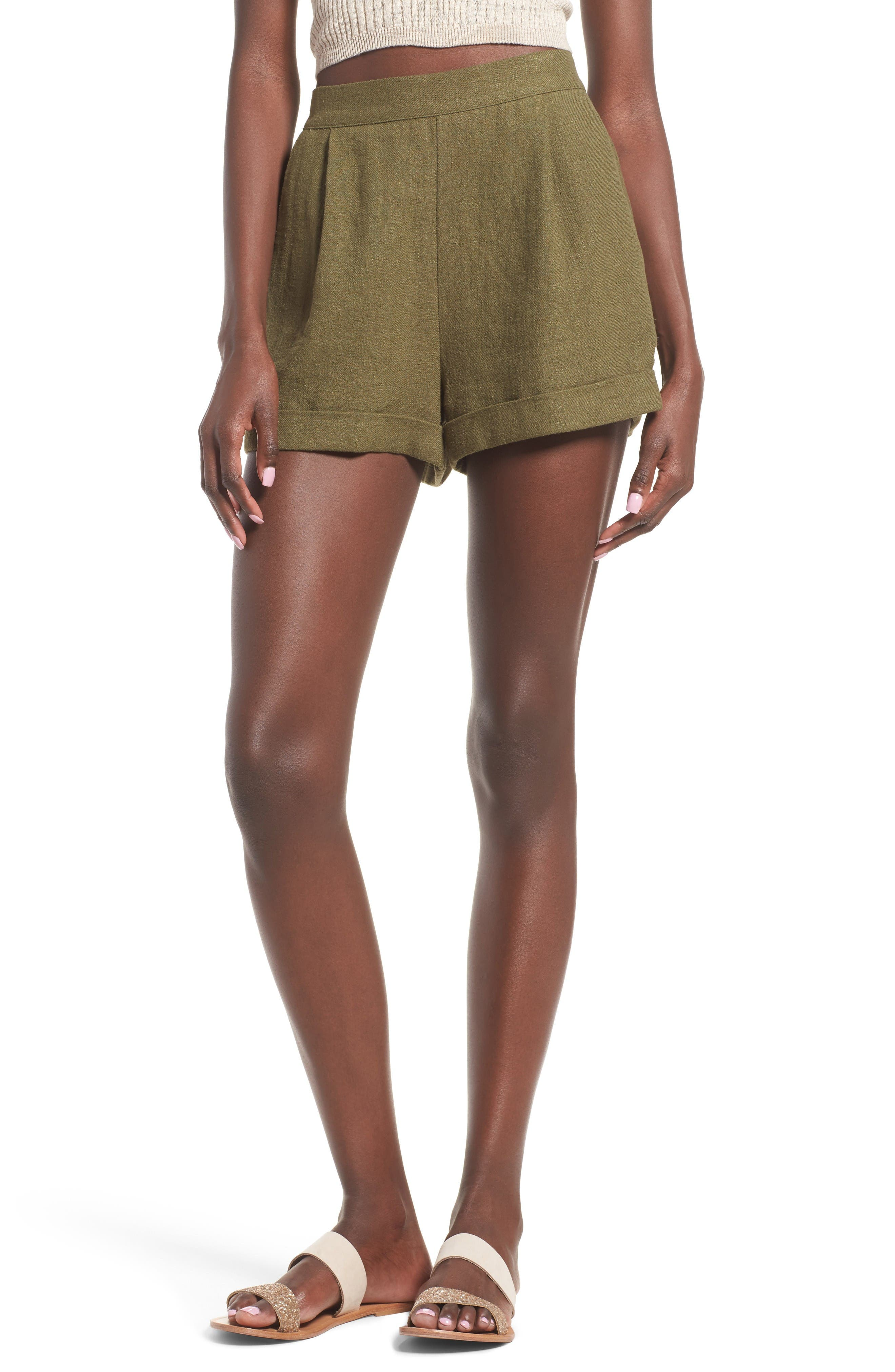 High Waist Linen & Cotton Shorts,                         Main,                         color, Olive