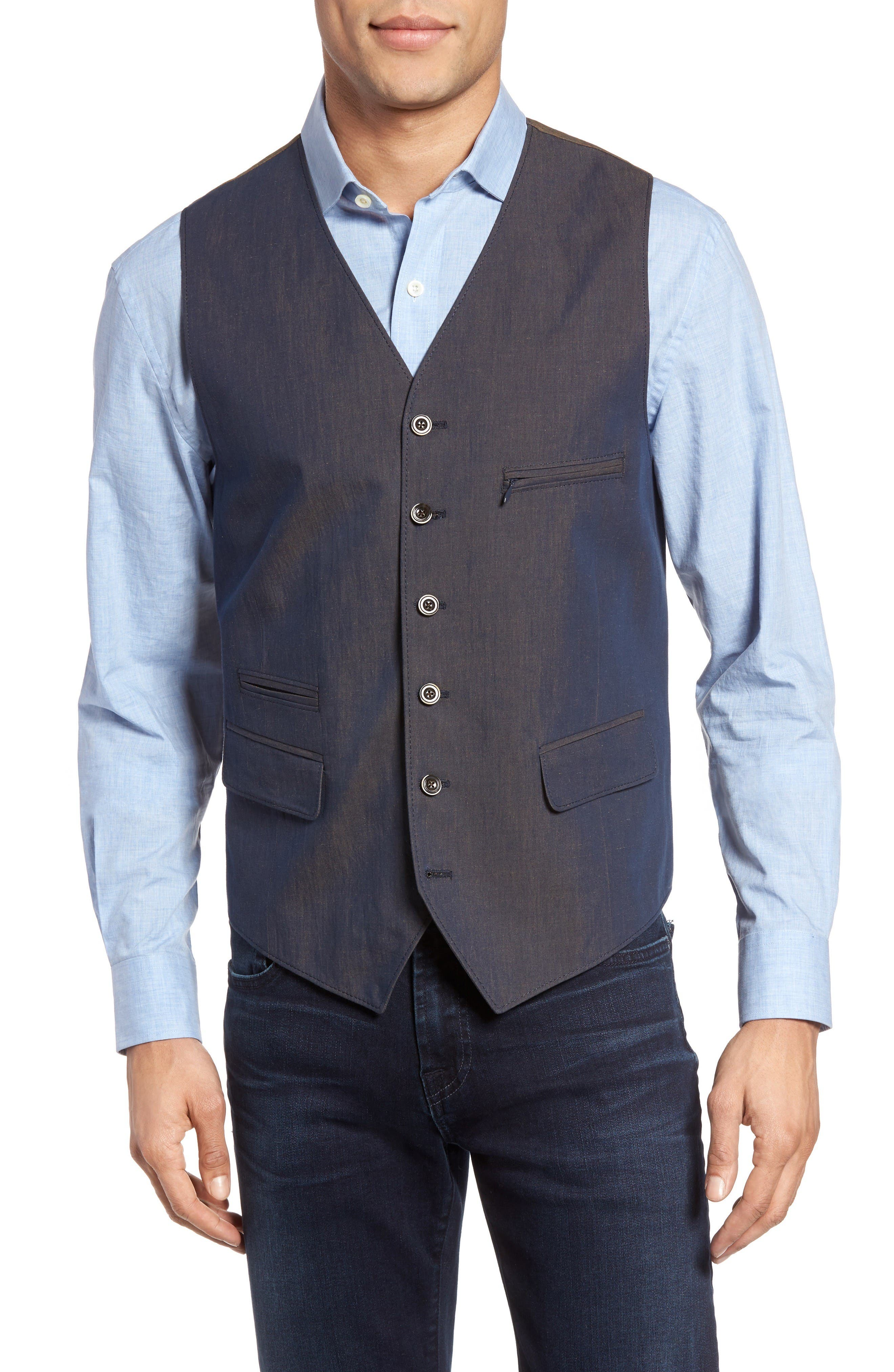 Hootie Classic Fit Linen & Cotton Vest,                         Main,                         color, Blue