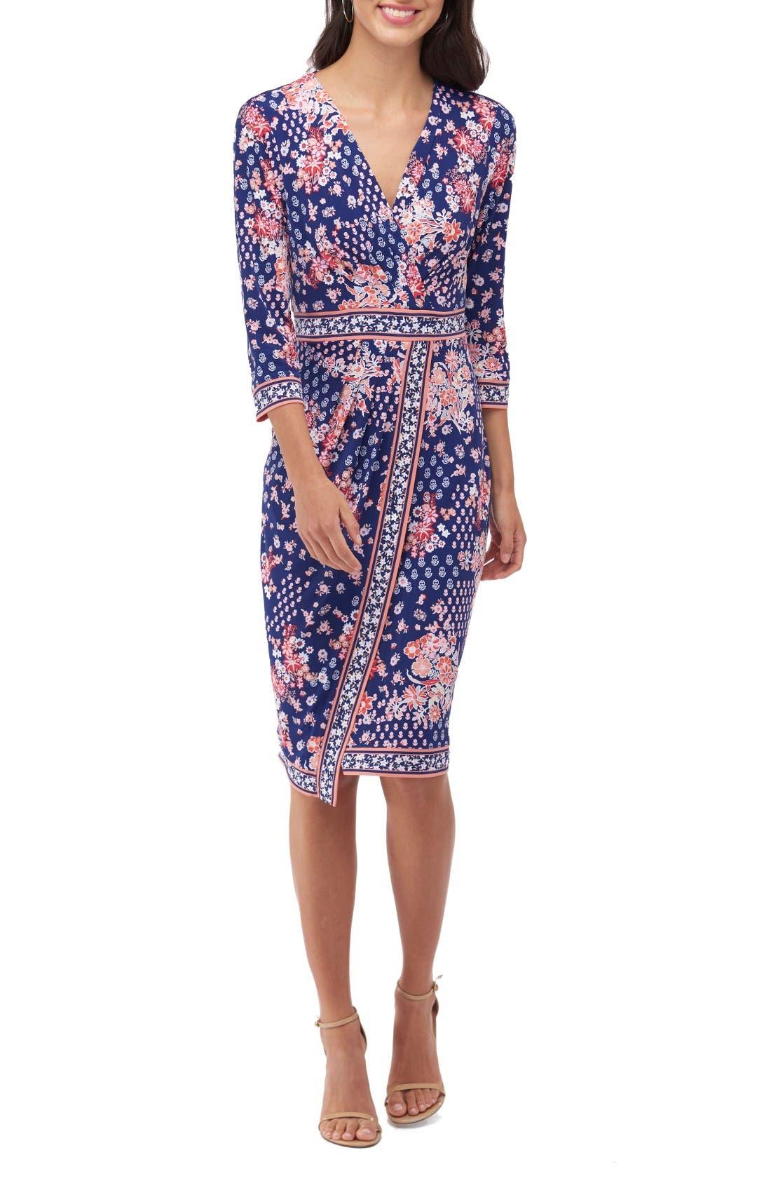 Main Image - ECI Floral Faux Wrap Dress