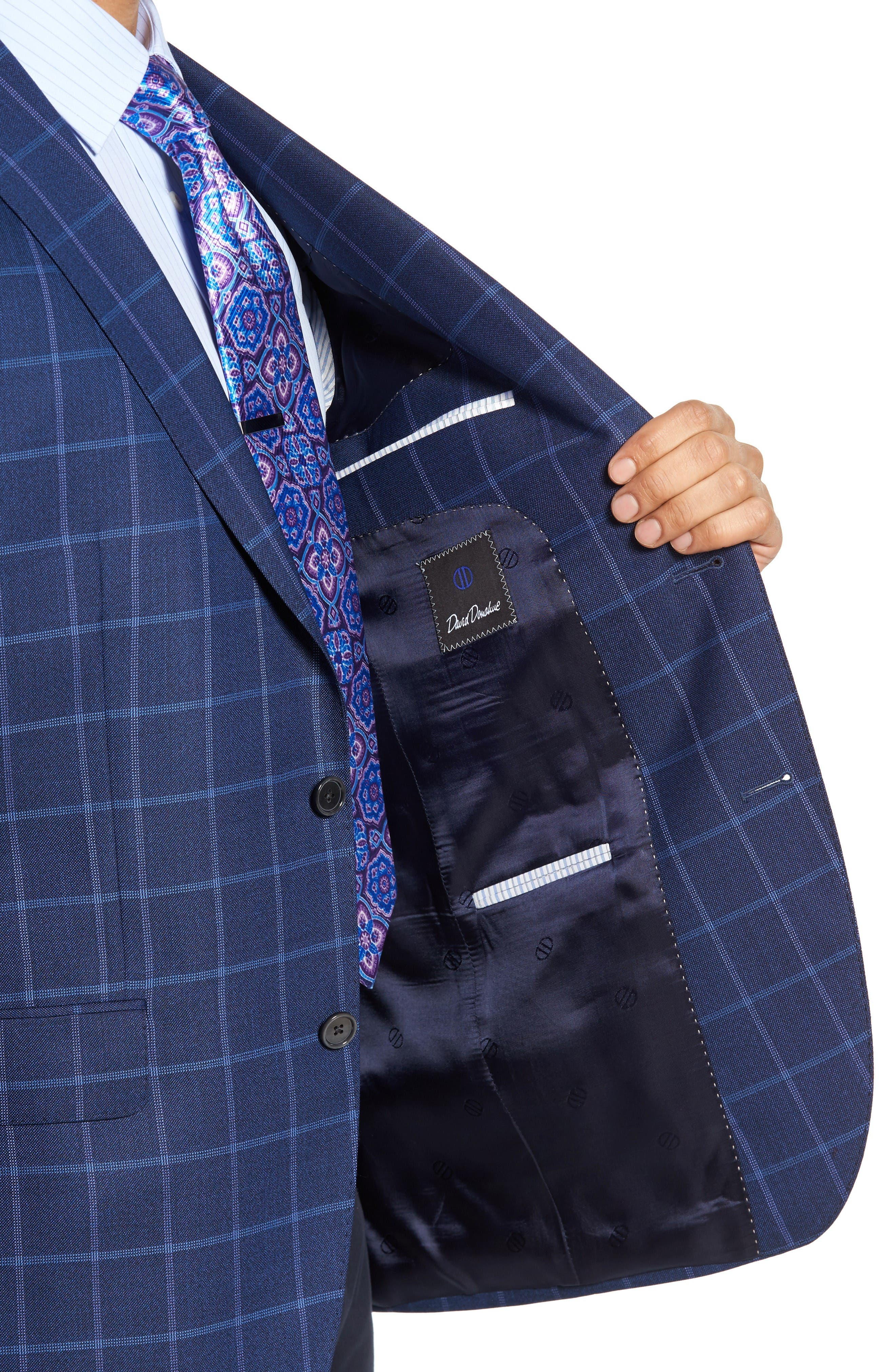 Alternate Image 4  - David Donahue Connor Classic Fit Windowpane Wool Sport Coat