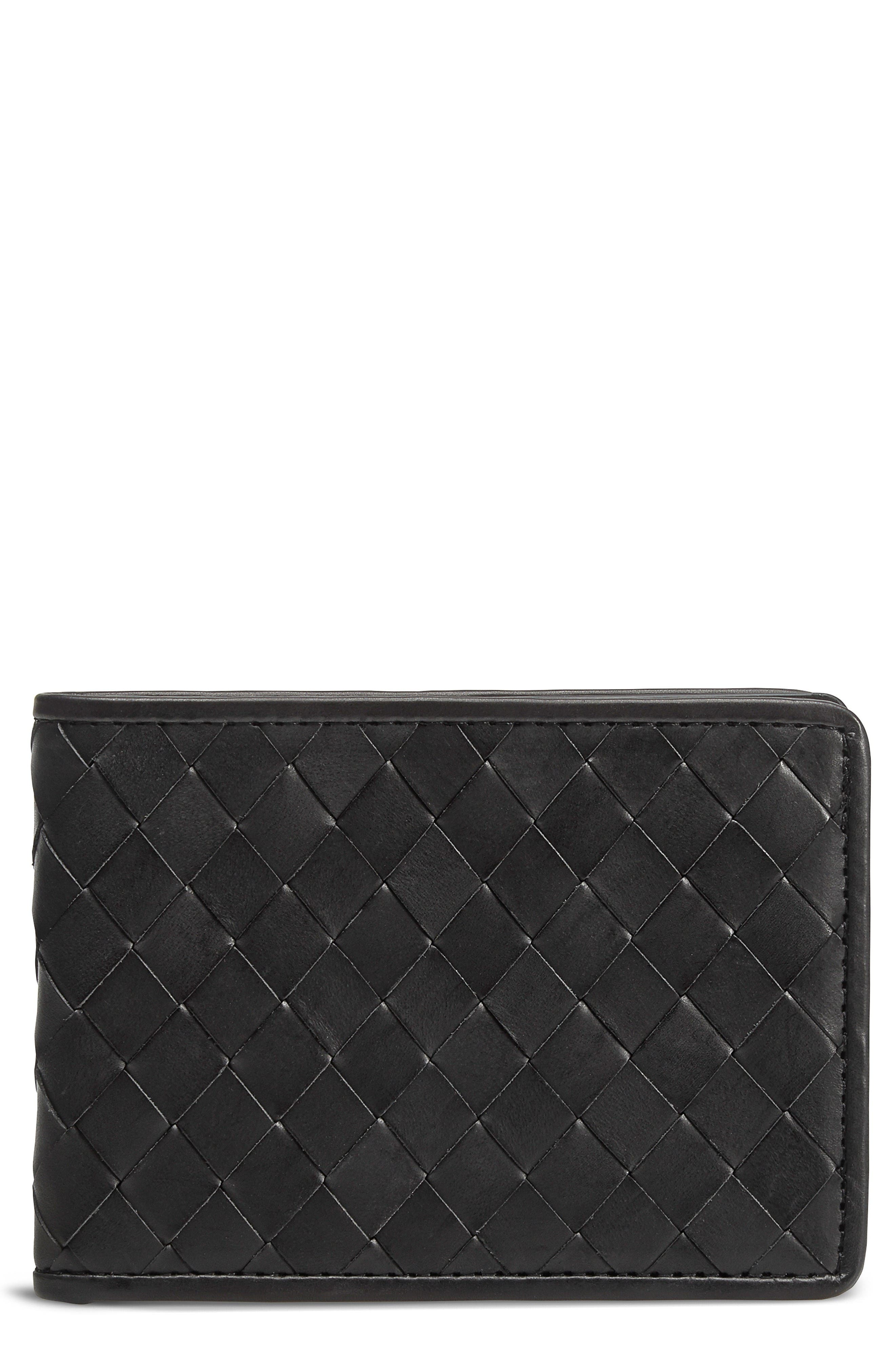 Woven Leather Wallet,                         Main,                         color, Black