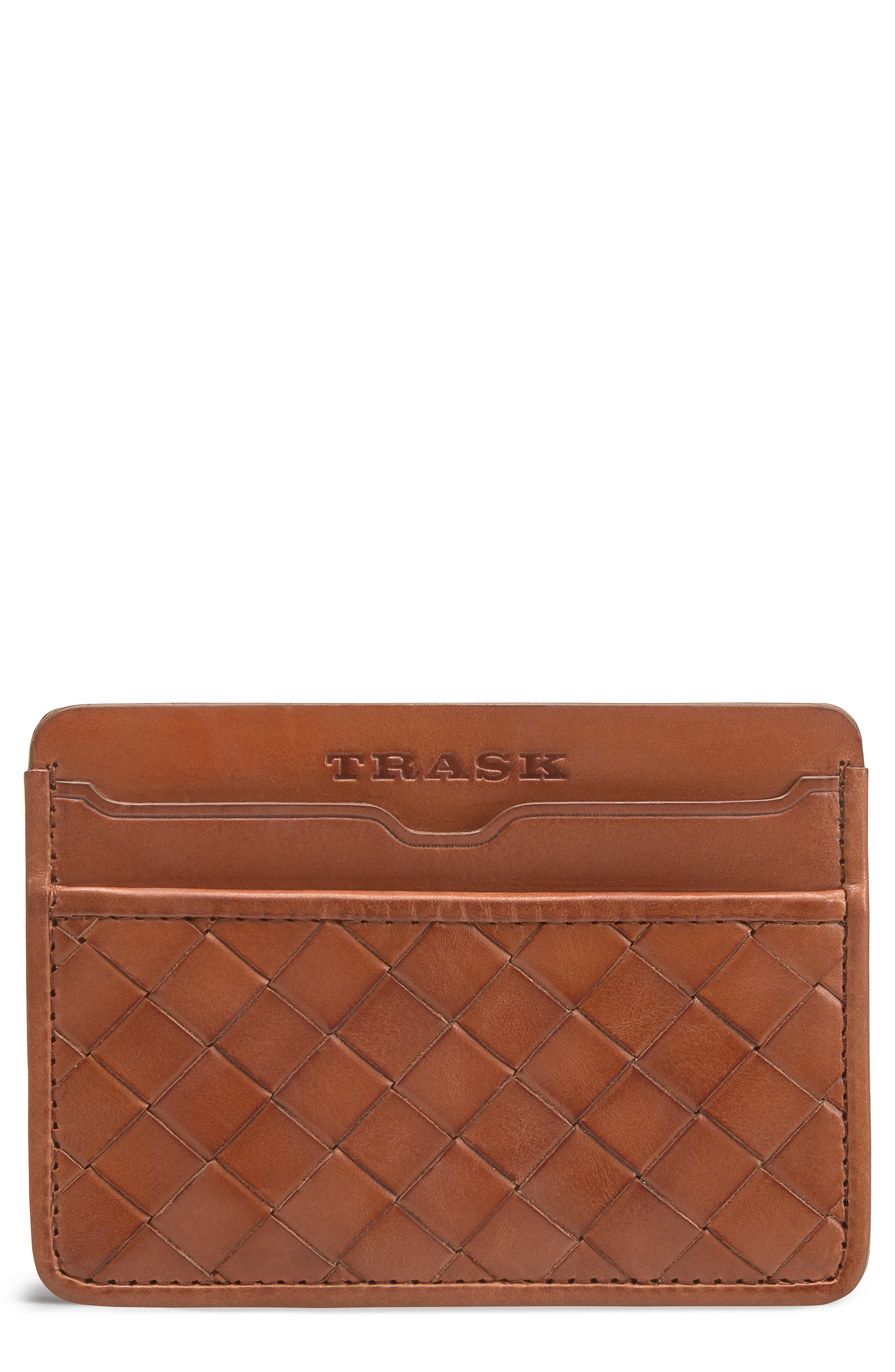Woven Leather Card Case,                             Main thumbnail 1, color,                             Tan