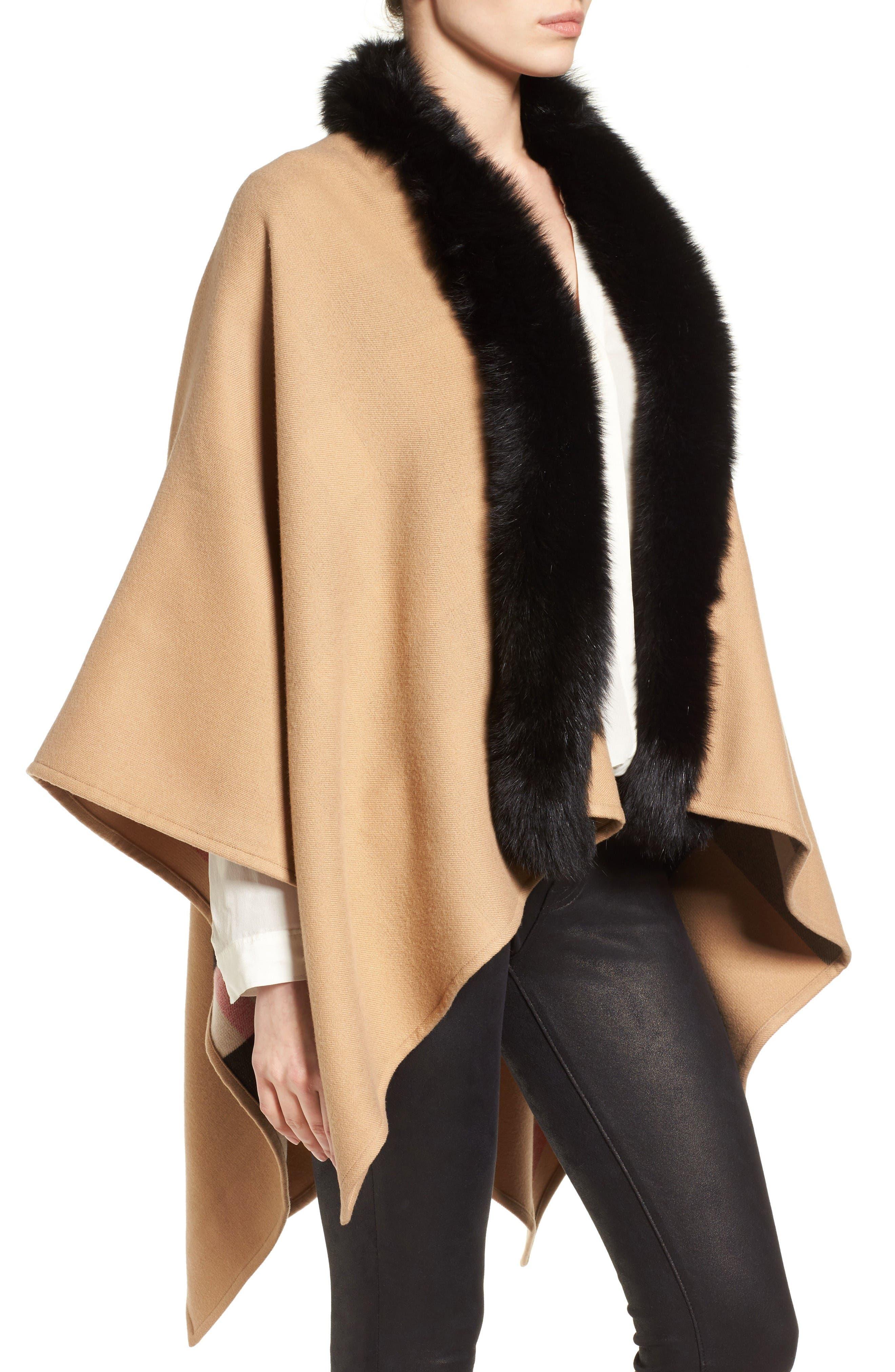 Alternate Image 4  - Burberry Charlotte Genuine Fox Fur Trim Reversible Cape