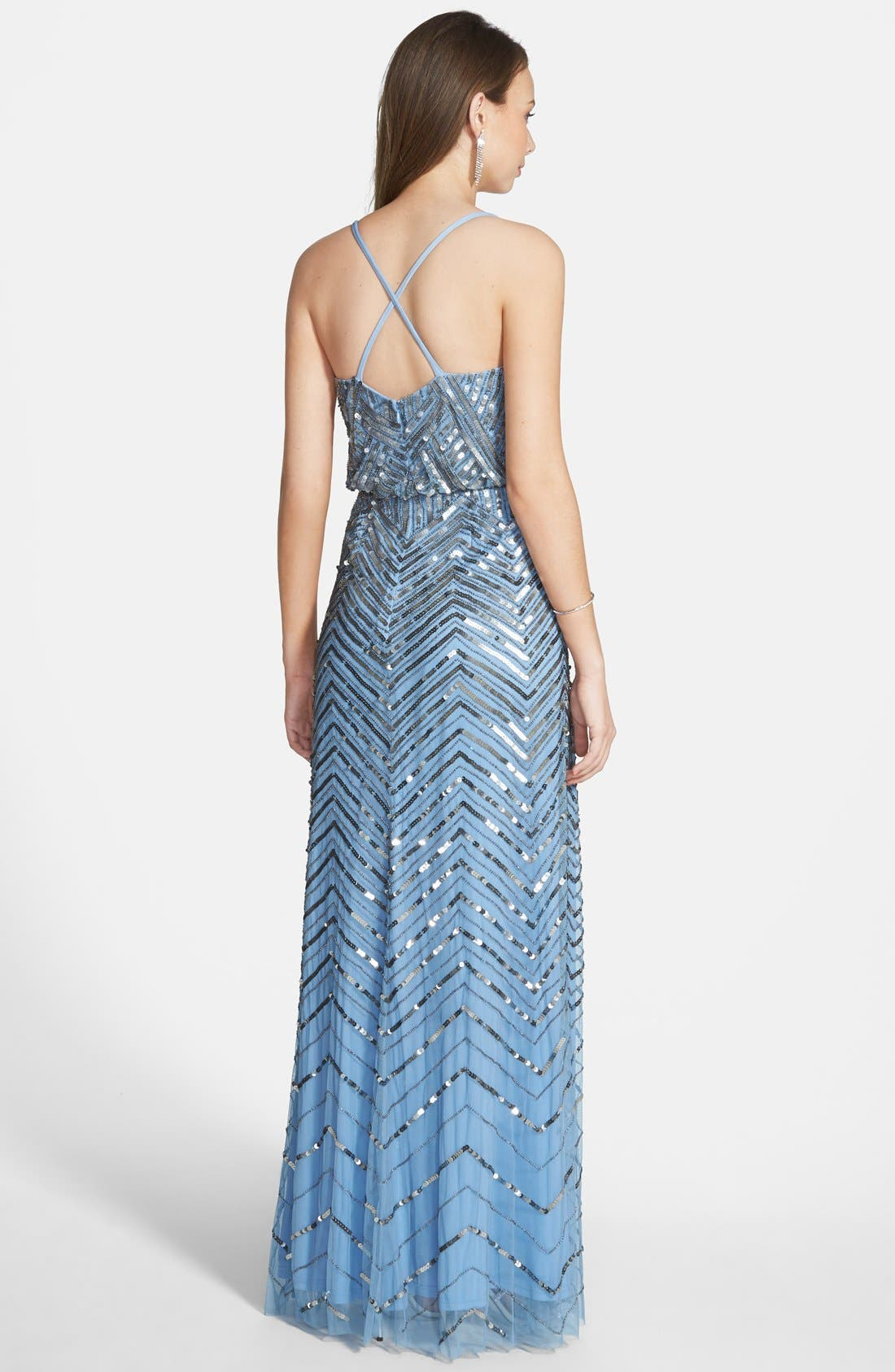 Alternate Image 2  - Adrianna Papell Cross Back Sequin Blouson Gown