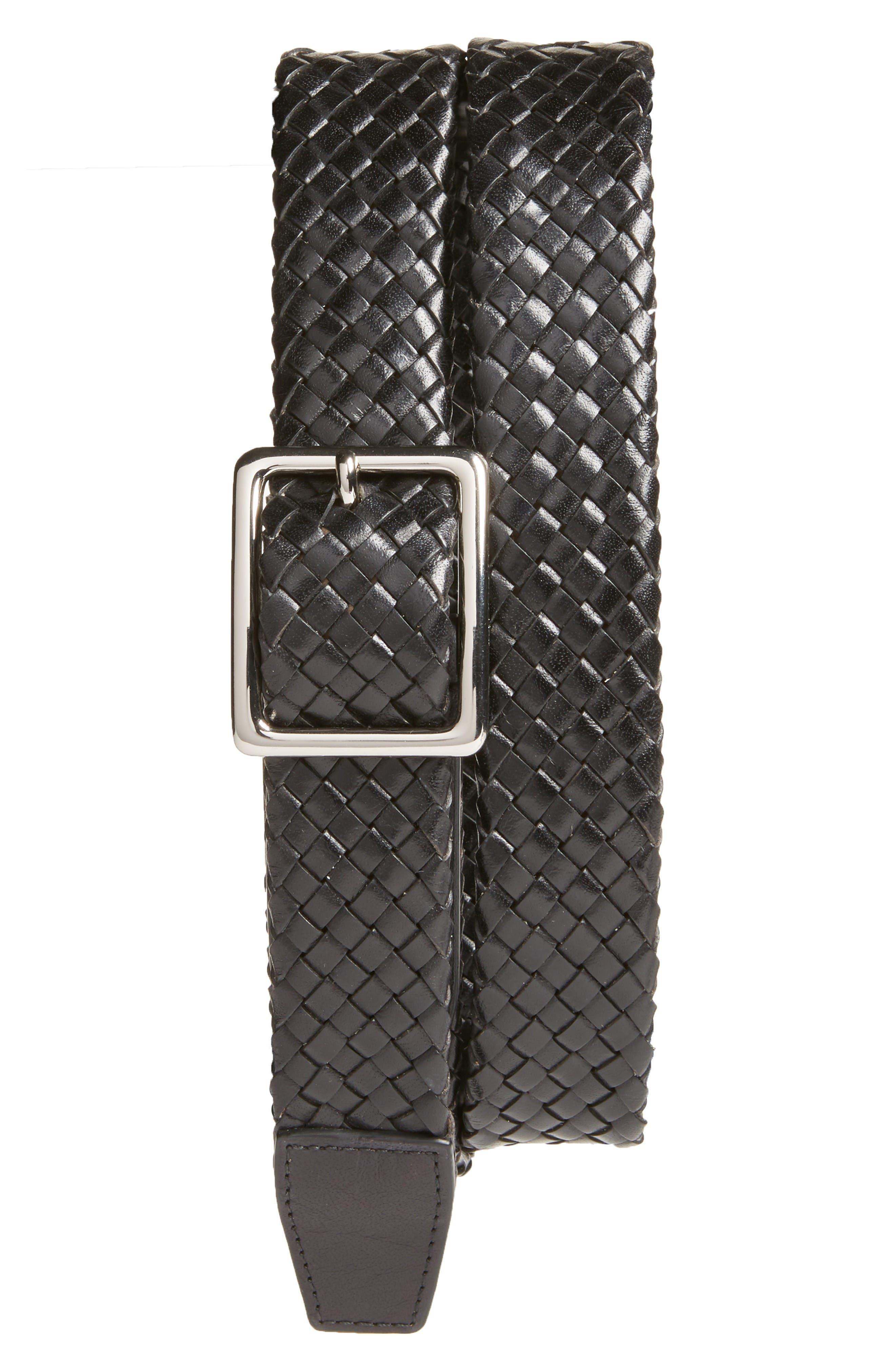 Woven Leather Belt,                         Main,                         color, Black