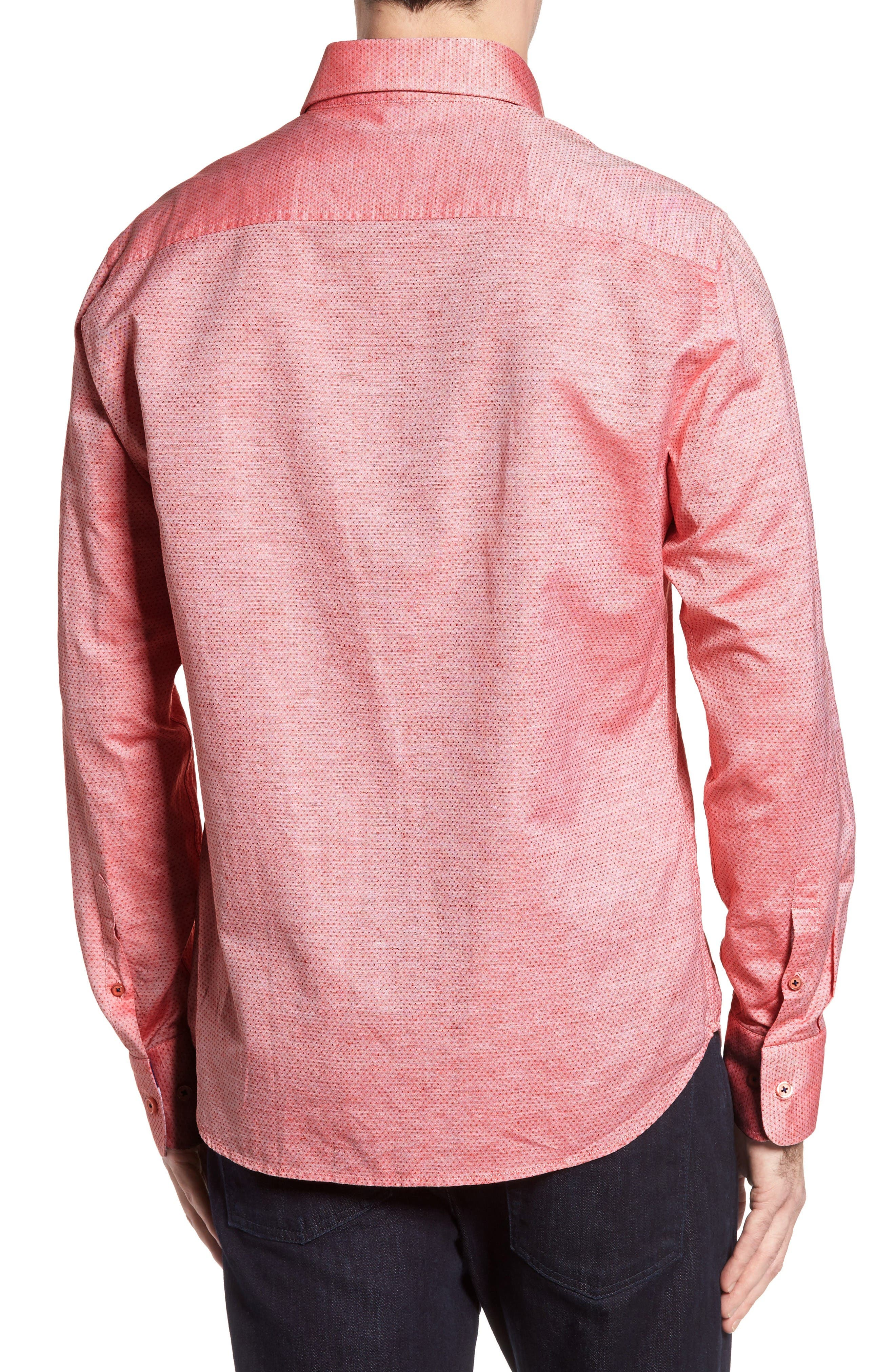 Dobby Cotton & Linen Sport Shirt,                             Alternate thumbnail 2, color,                             Coral
