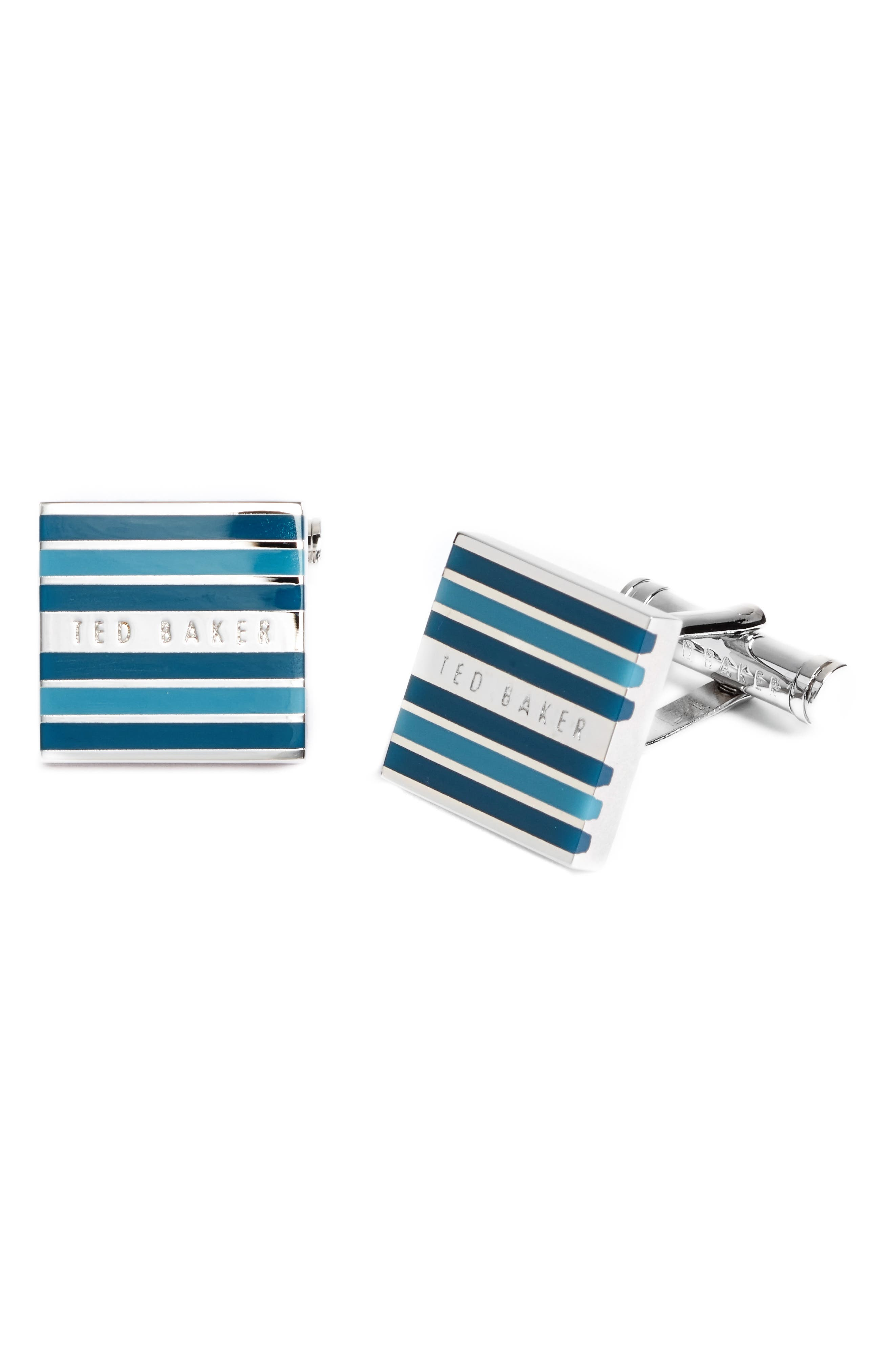 High Stripe Cuff Links,                         Main,                         color, Teal