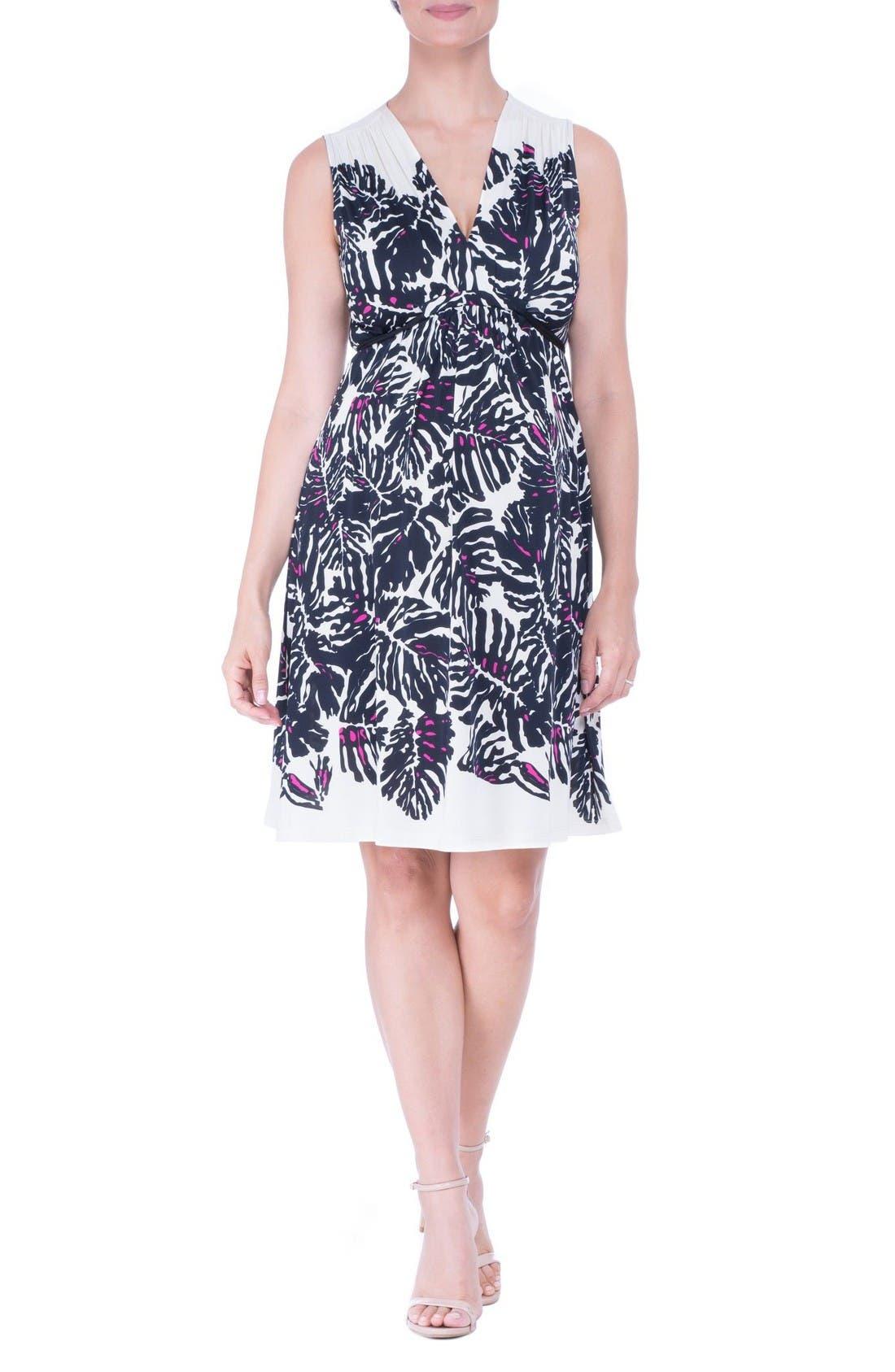 Print Maternity Dress,                         Main,                         color, Black/ Ivory