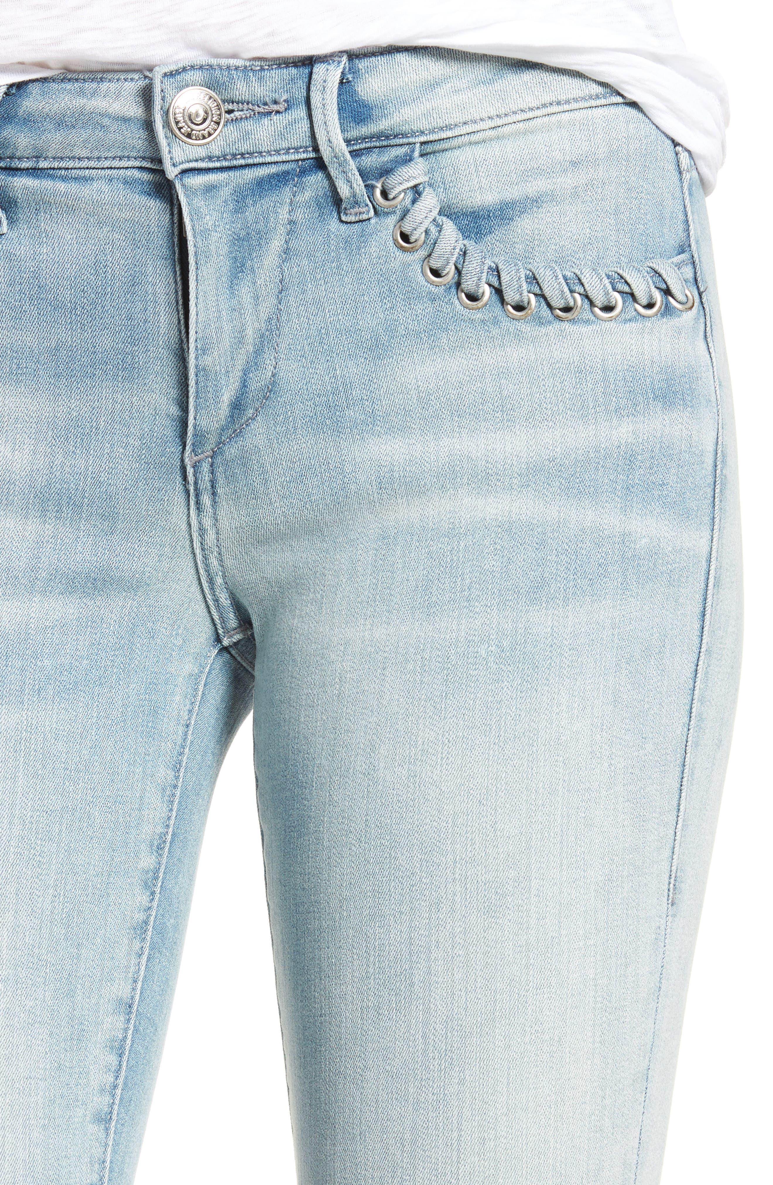 Halle Super Skinny Jeans,                             Alternate thumbnail 4, color,                             Cloud Nine