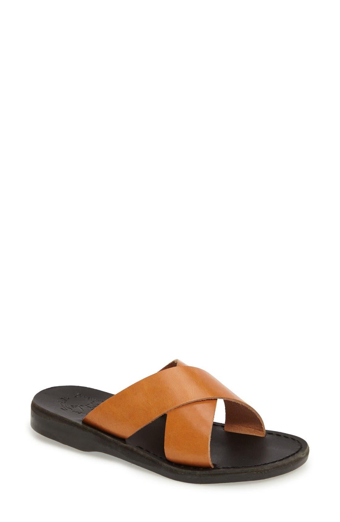 Elan Crisscross Sandal,                             Main thumbnail 1, color,                             Brown/ Tan Leather
