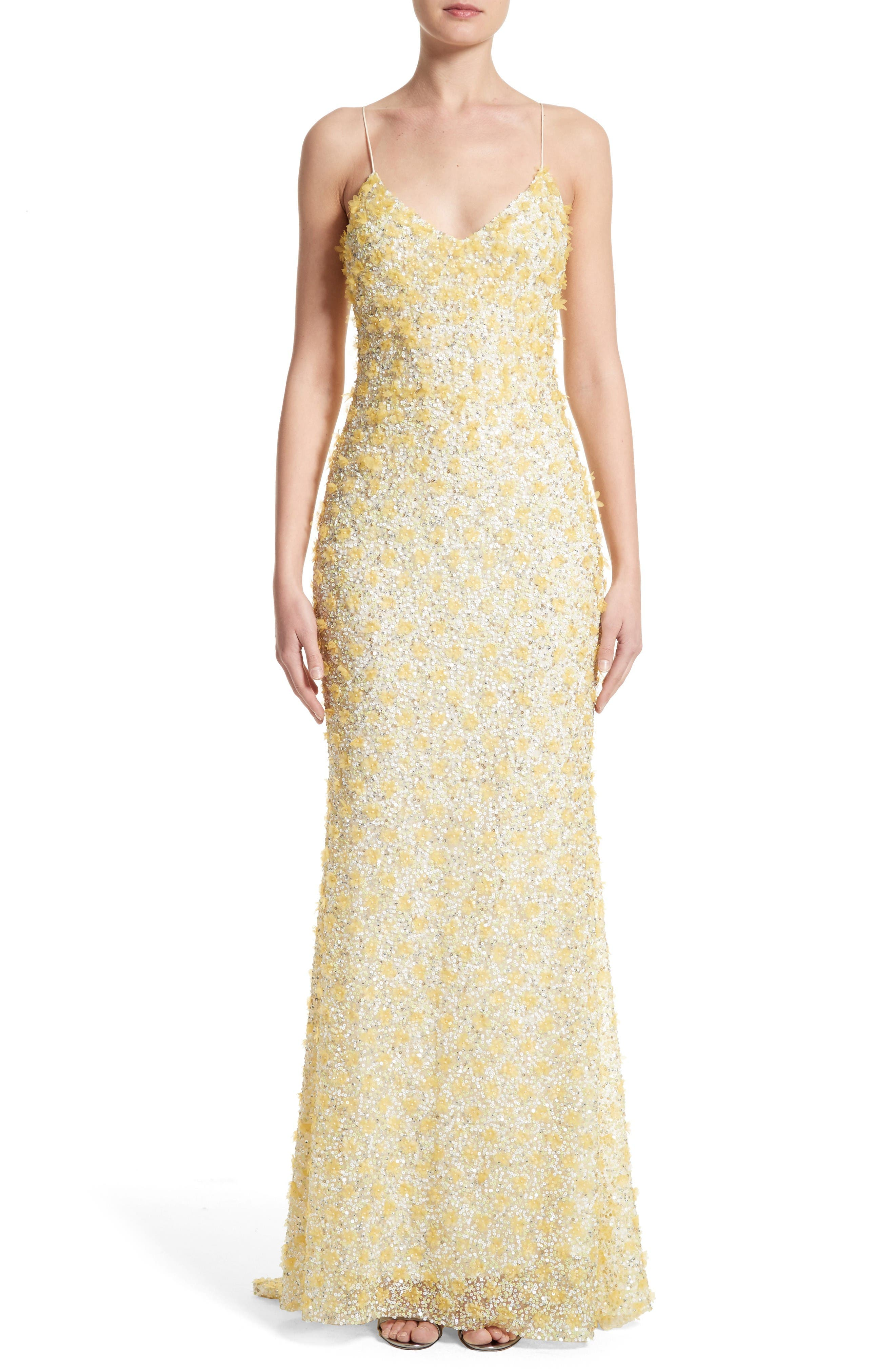 Badgley Mischka Couture Embellished Gown,                             Main thumbnail 1, color,                             Yellow