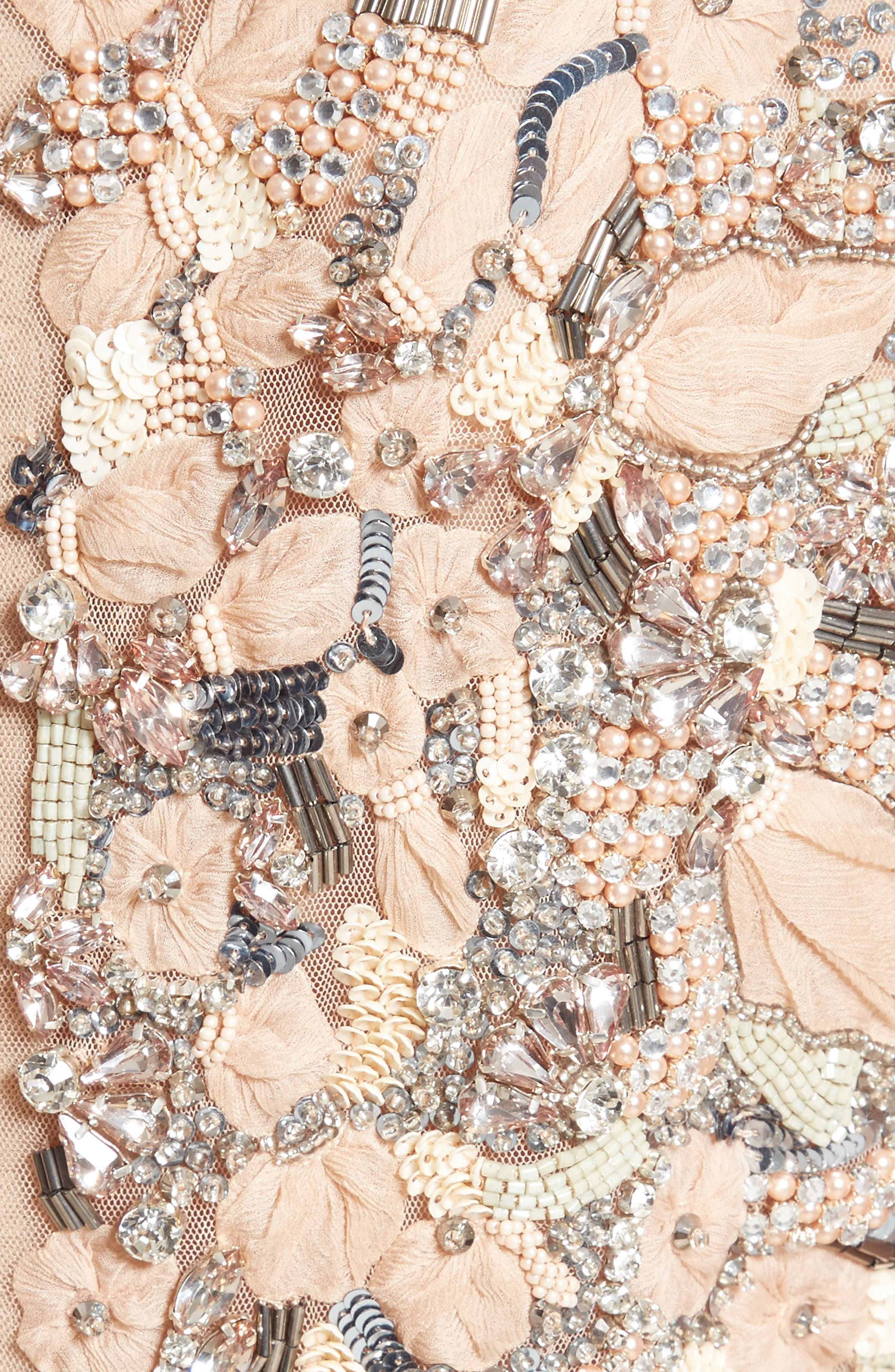 Badgley Mischka Couture Beaded Top,                             Alternate thumbnail 3, color,                             Peach