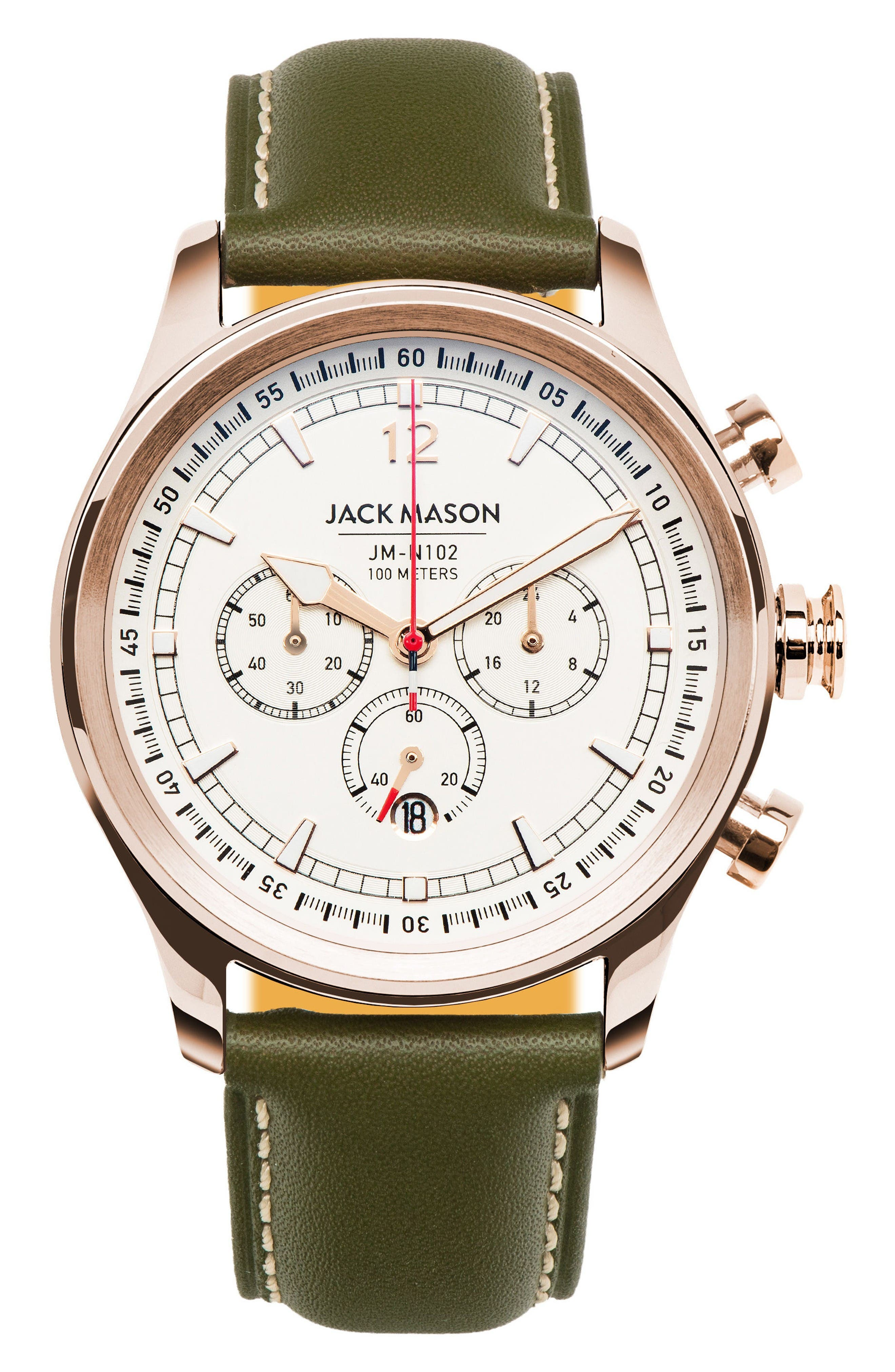 Jack Mason Nautical Chronograph Leather Strap Watch, 42mm