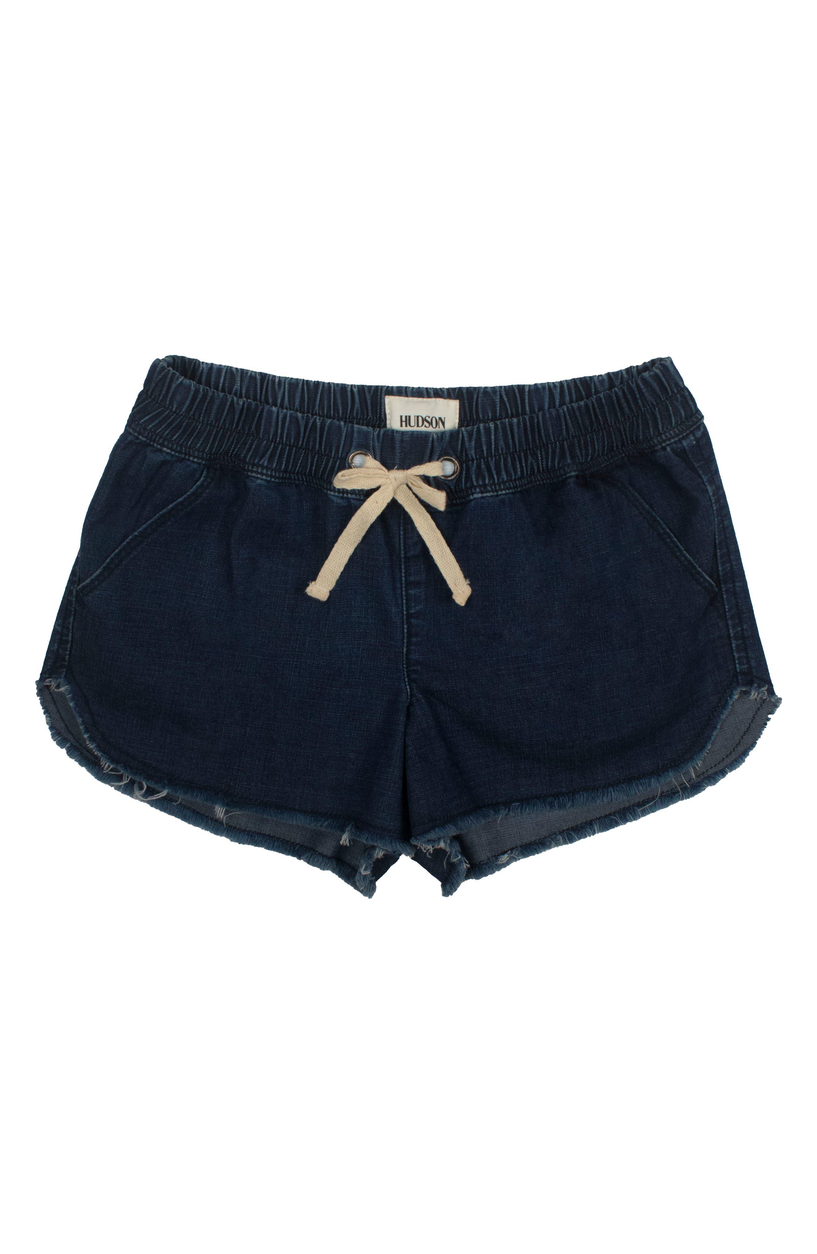 Frayed Denim Jog Shorts,                         Main,                         color, Galeon