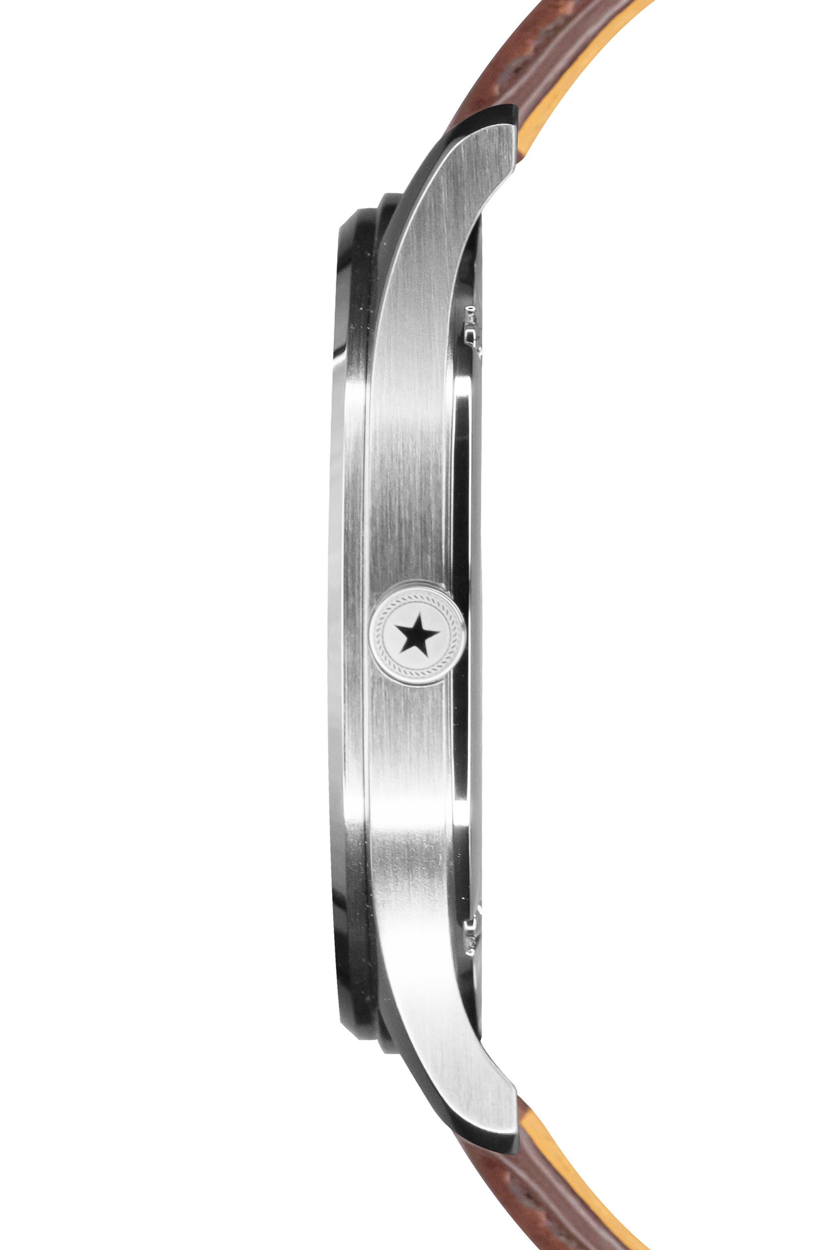 Alternate Image 3  - Jack Mason Slim Leather Strap Watch, 42mm