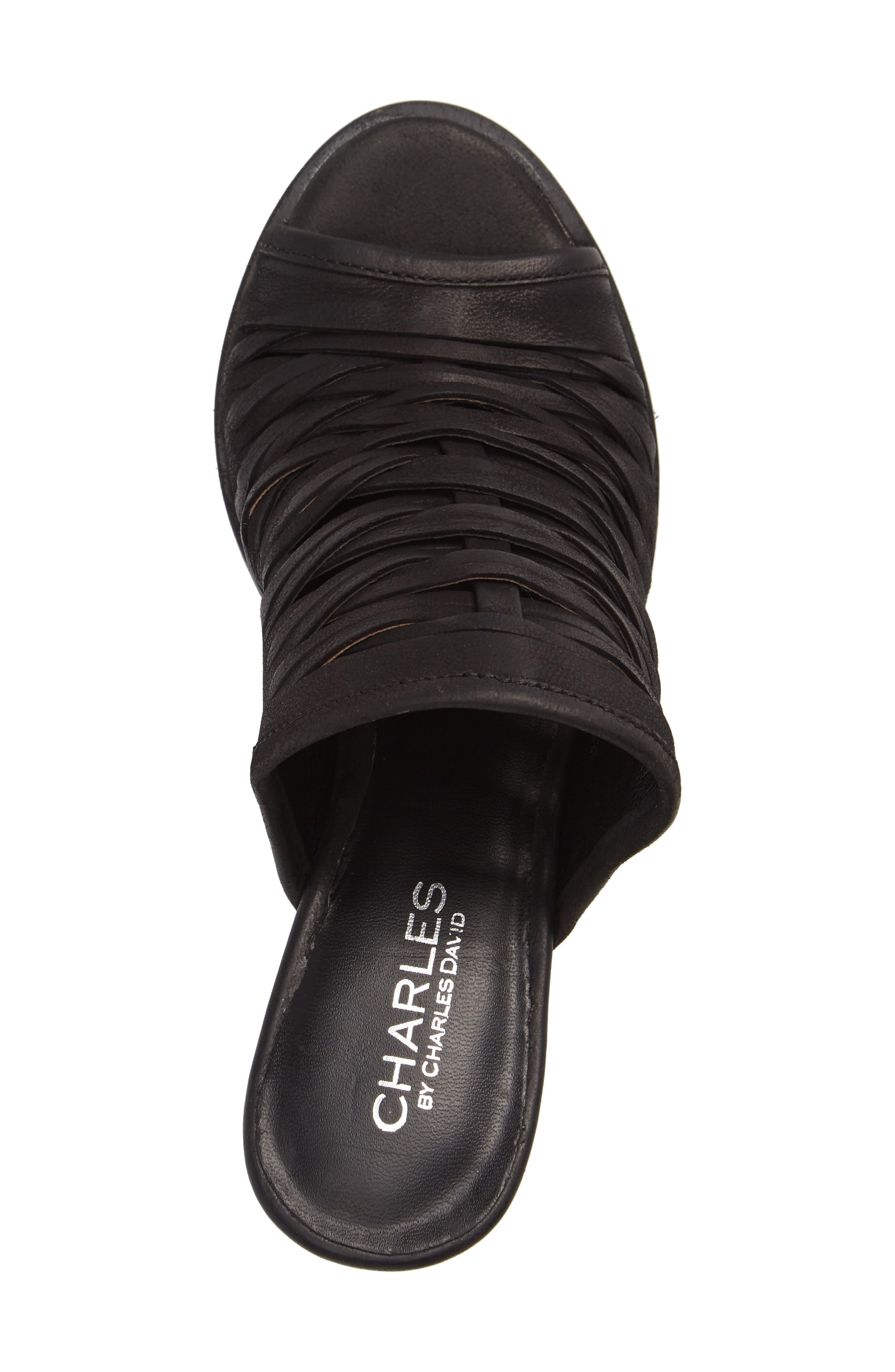 Chris Slivered Sandal,                             Alternate thumbnail 3, color,                             Black Leather