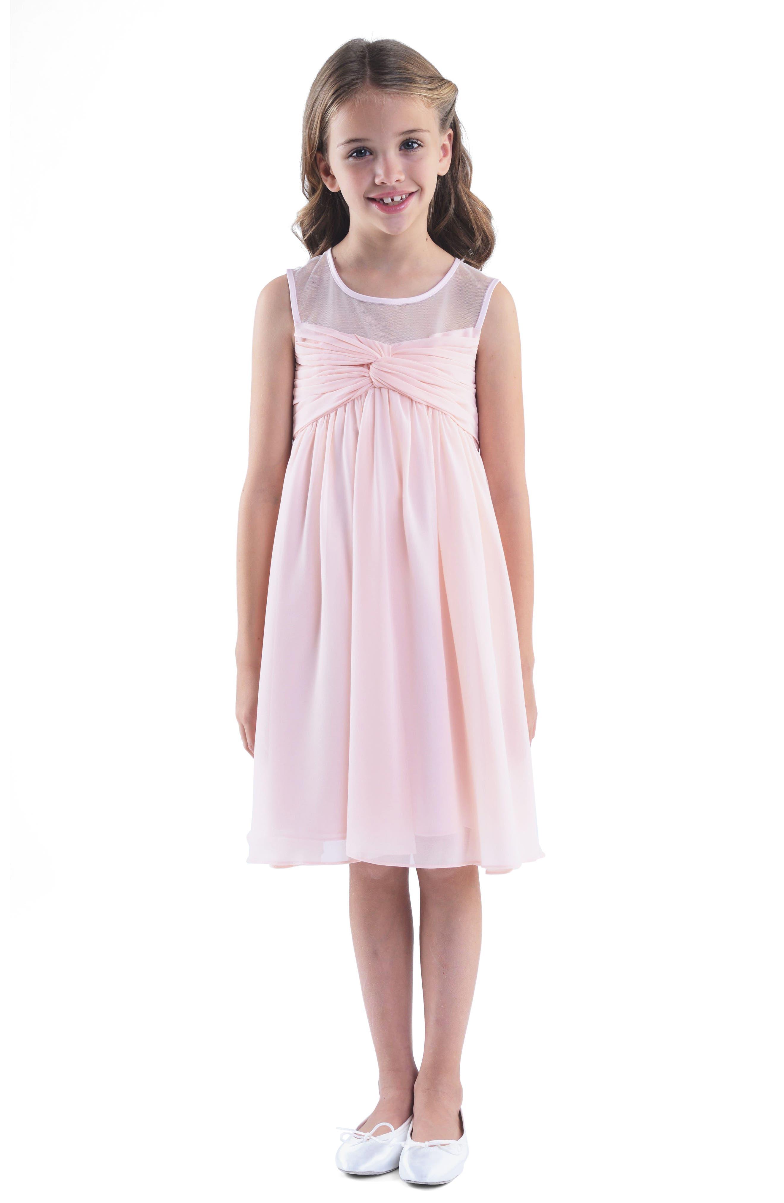 Illusion Neckline Dress,                         Main,                         color, Blush Pink