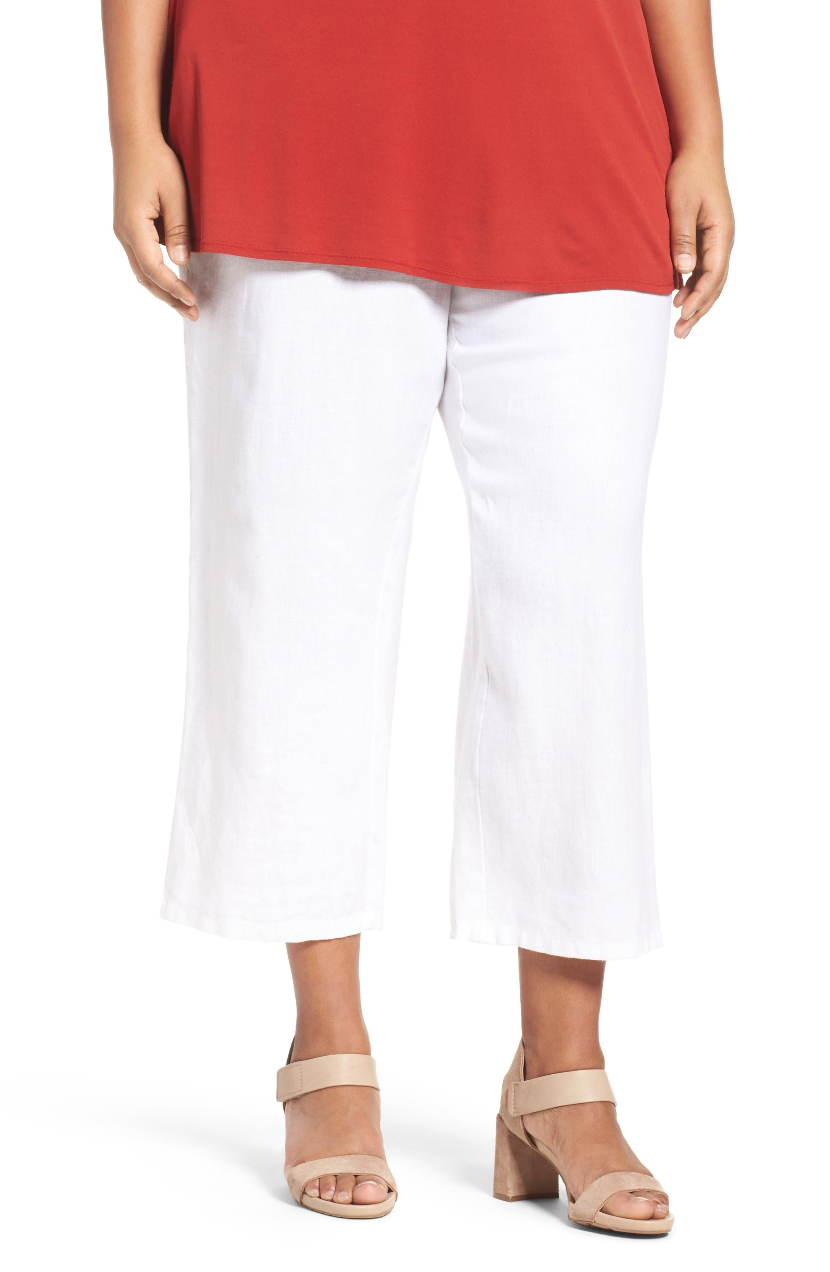 Alternate Image 1 Selected - Eileen Fisher Organic Linen Wide Leg Crop Pants (Plus Size)