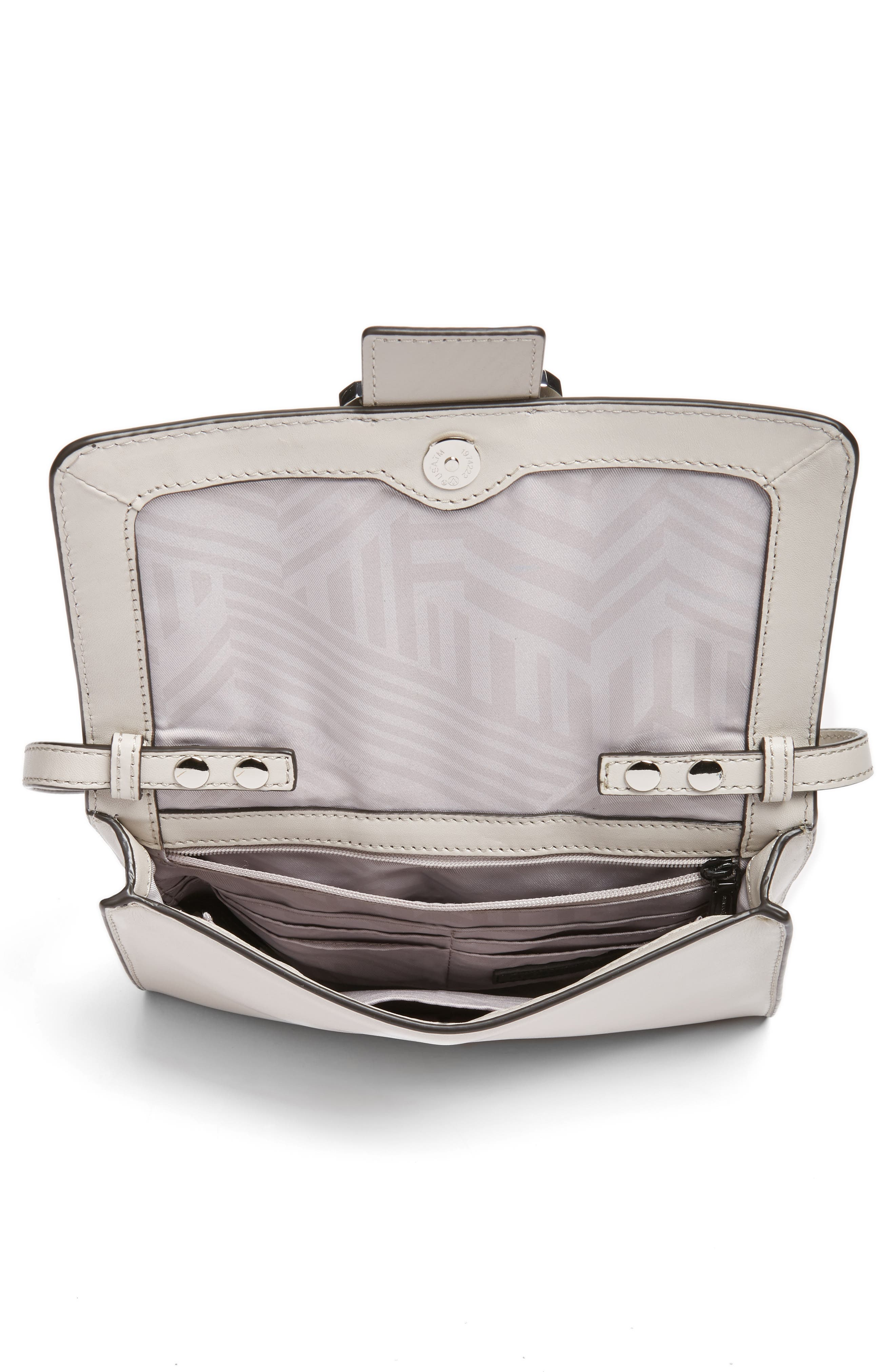 Hook Up Convertible Leather Clutch,                             Alternate thumbnail 4, color,                             Putty/ Silver