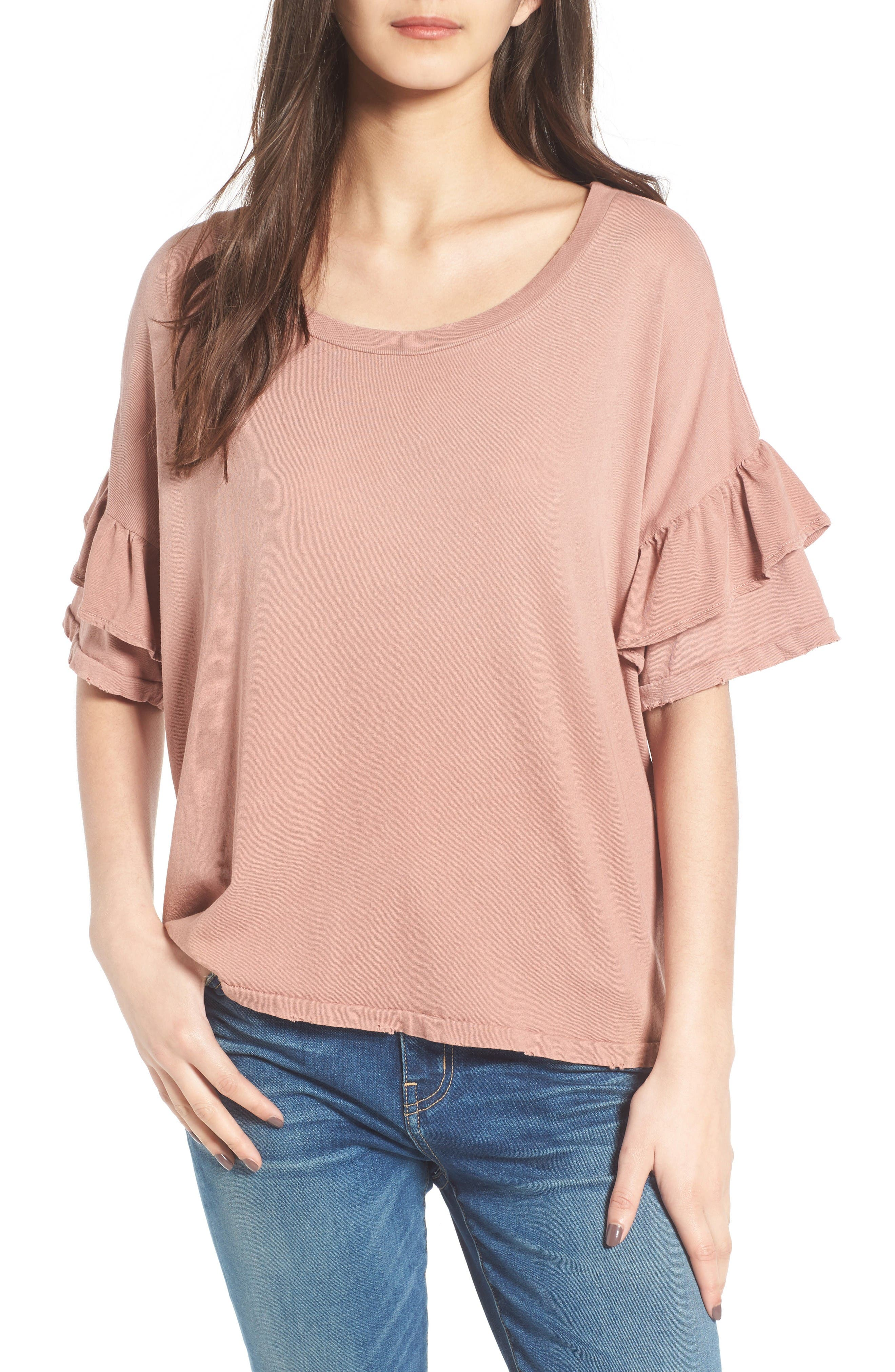 The Ruffle Roadie Tee,                         Main,                         color, Burl Wood