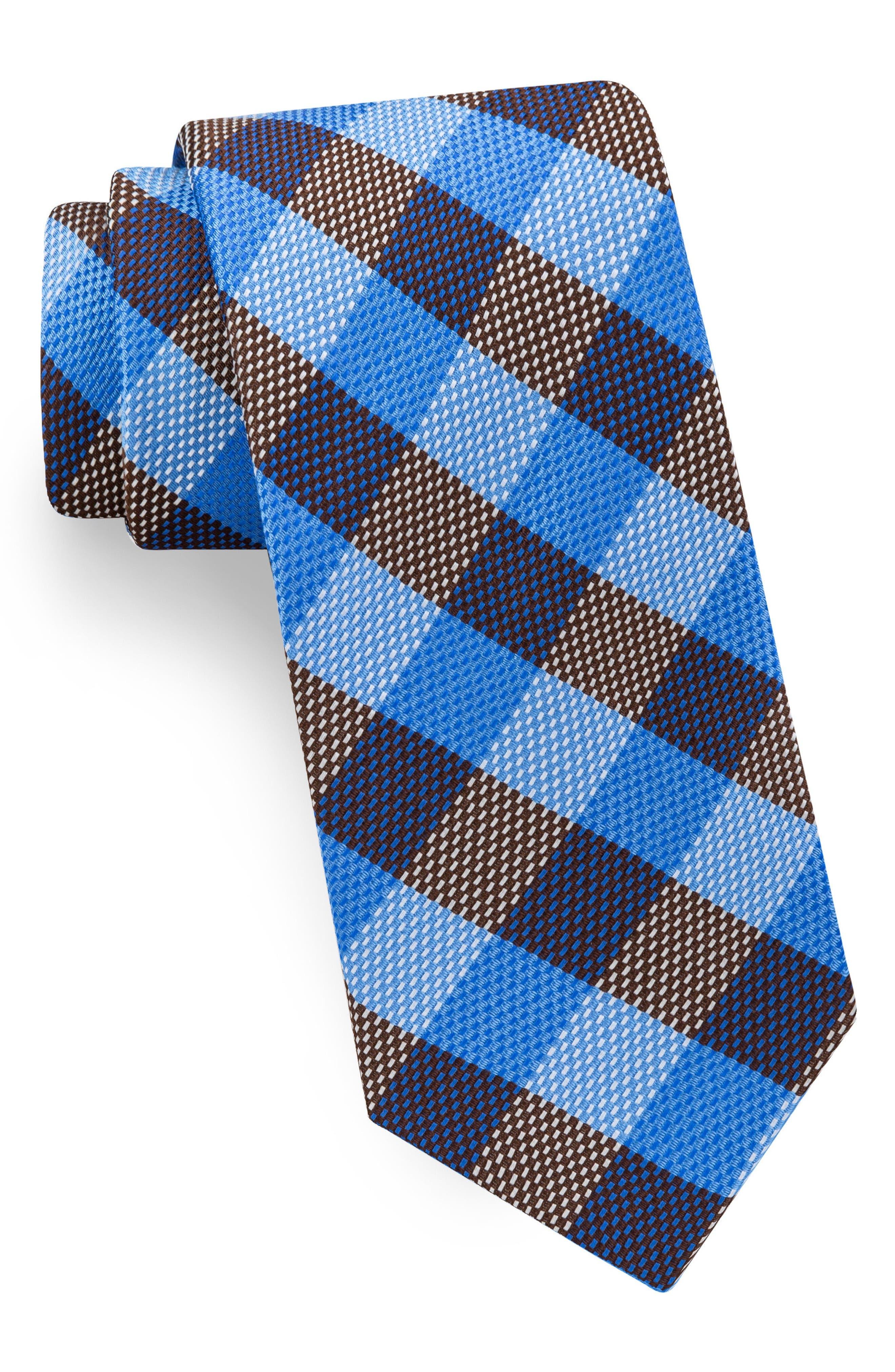 Derby Check Silk Tie,                         Main,                         color, Blue/ Brown