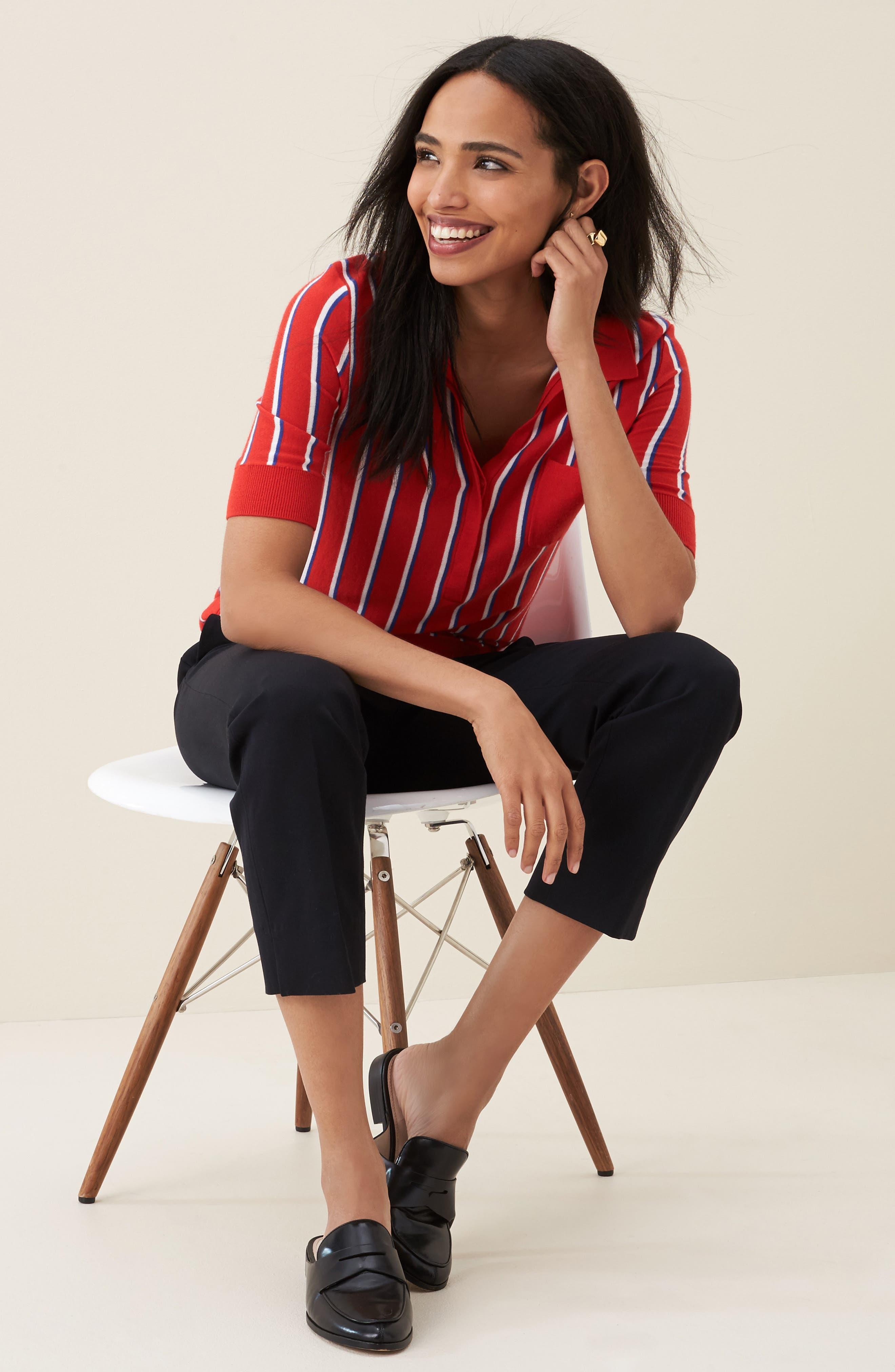 Alternate Image 2  - Halogen® Stripe Polo Sweater (Regular & Petite)