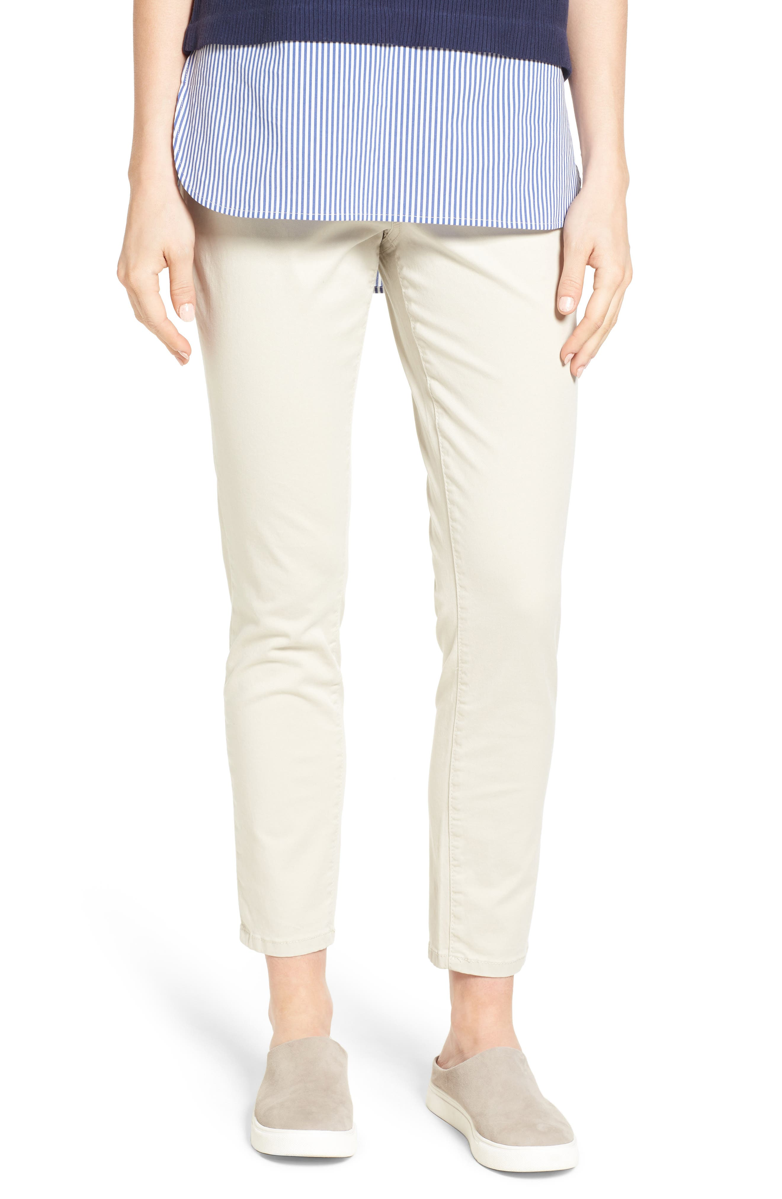 Amelia Pull-On Slim Stretch Twill Ankle Pants,                             Main thumbnail 1, color,                             Stone