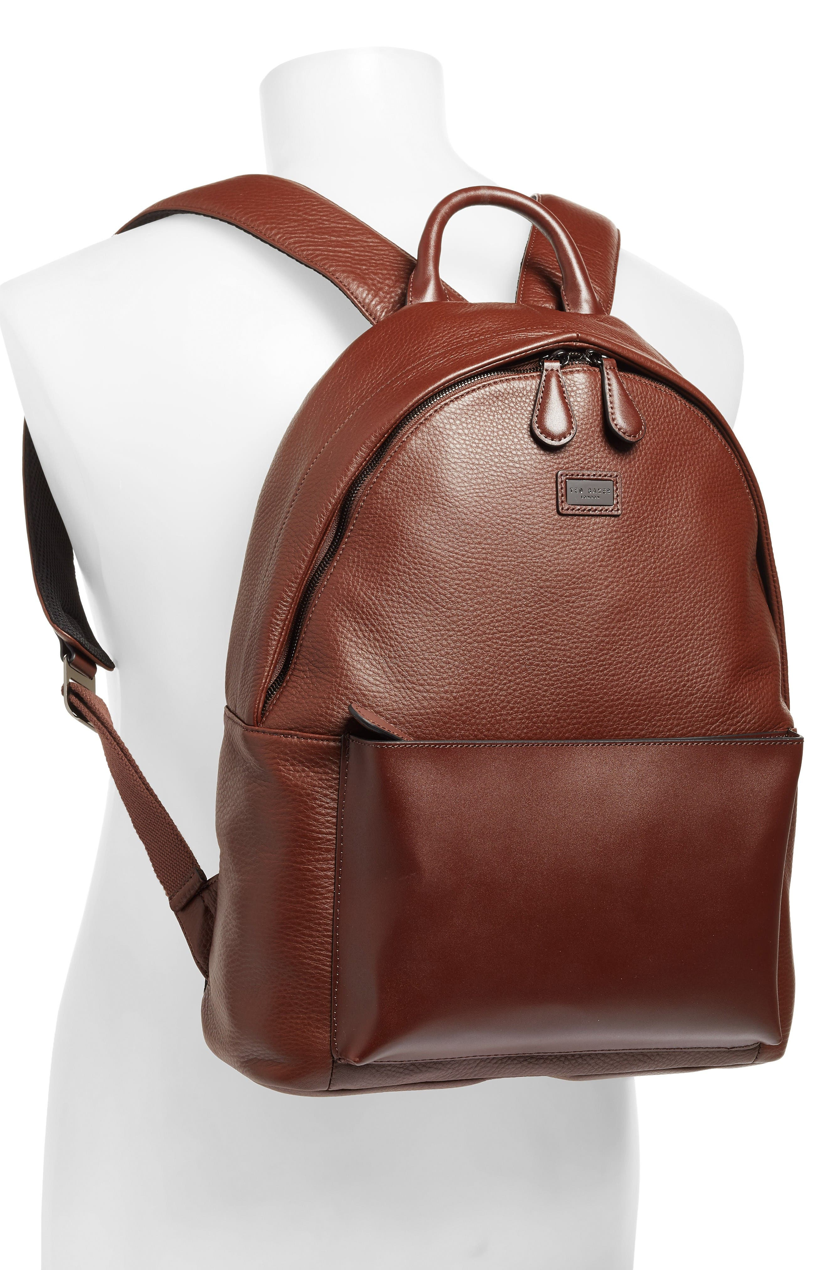 Leather Backpack,                             Alternate thumbnail 2, color,                             Tan