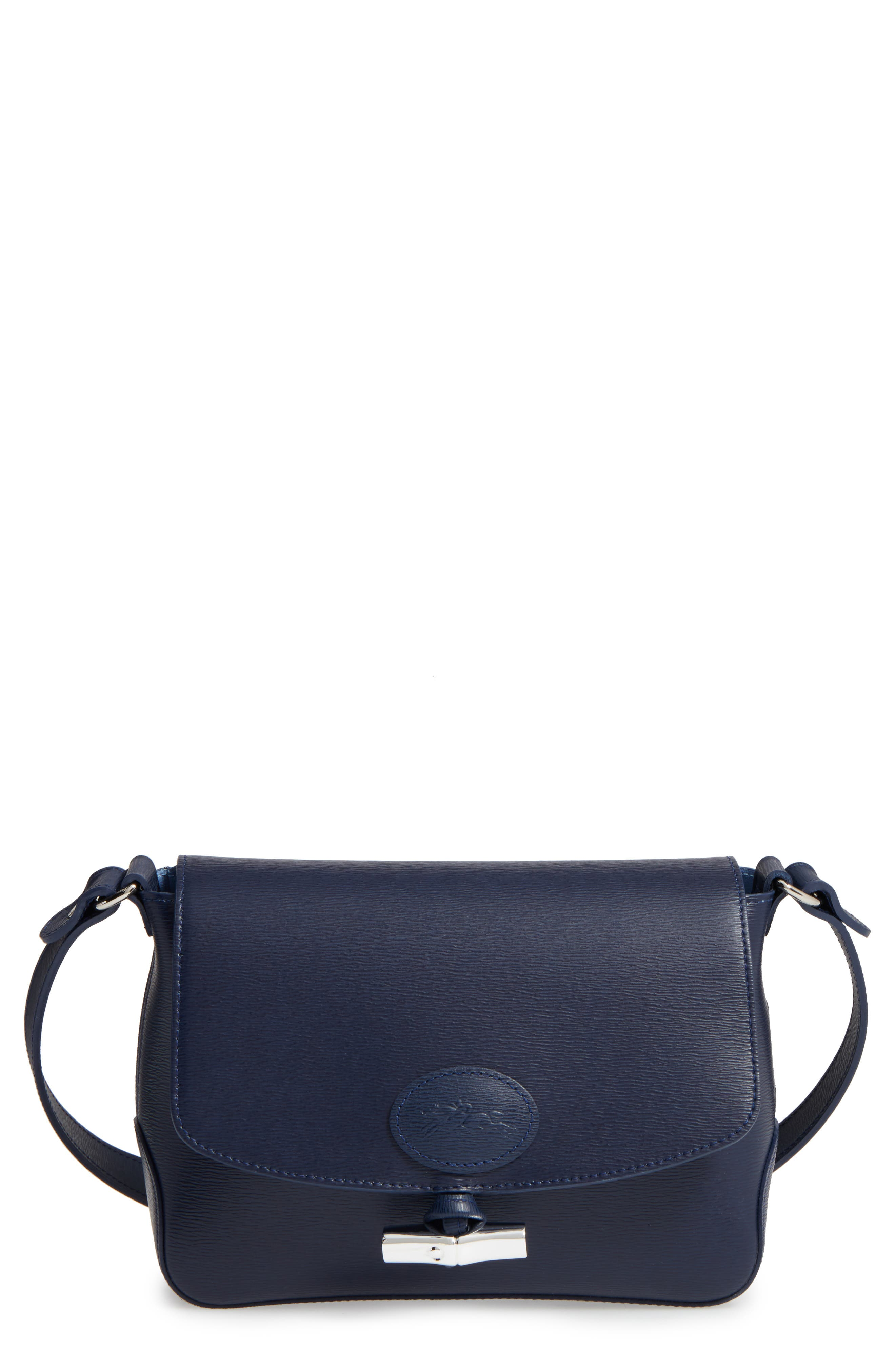 Roseau Leather Crossbody Bag,                             Main thumbnail 1, color,                             Navy