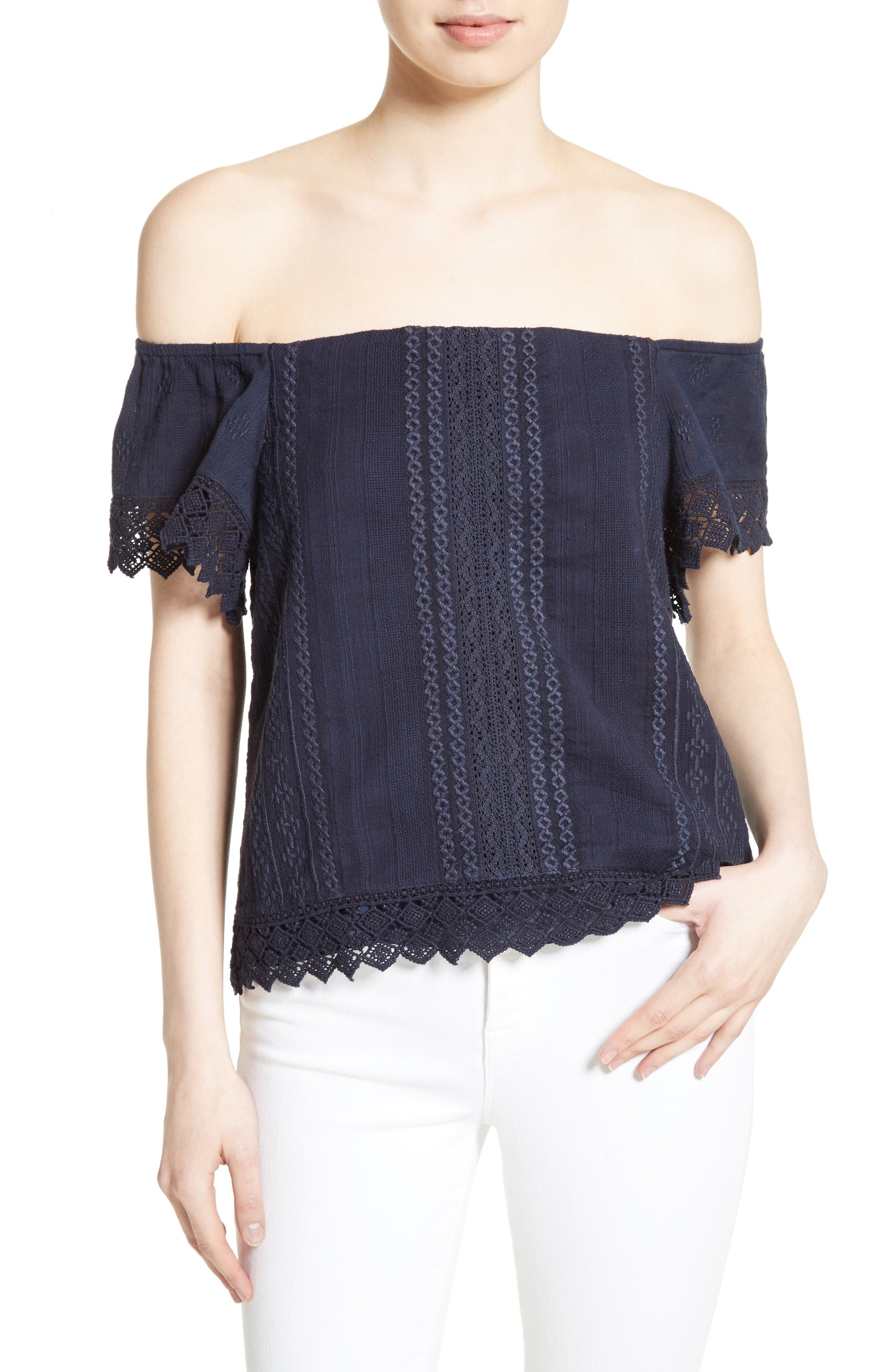 Main Image - Alice + Olivia Jules Embroidered Cotton Off the Shoulder Top