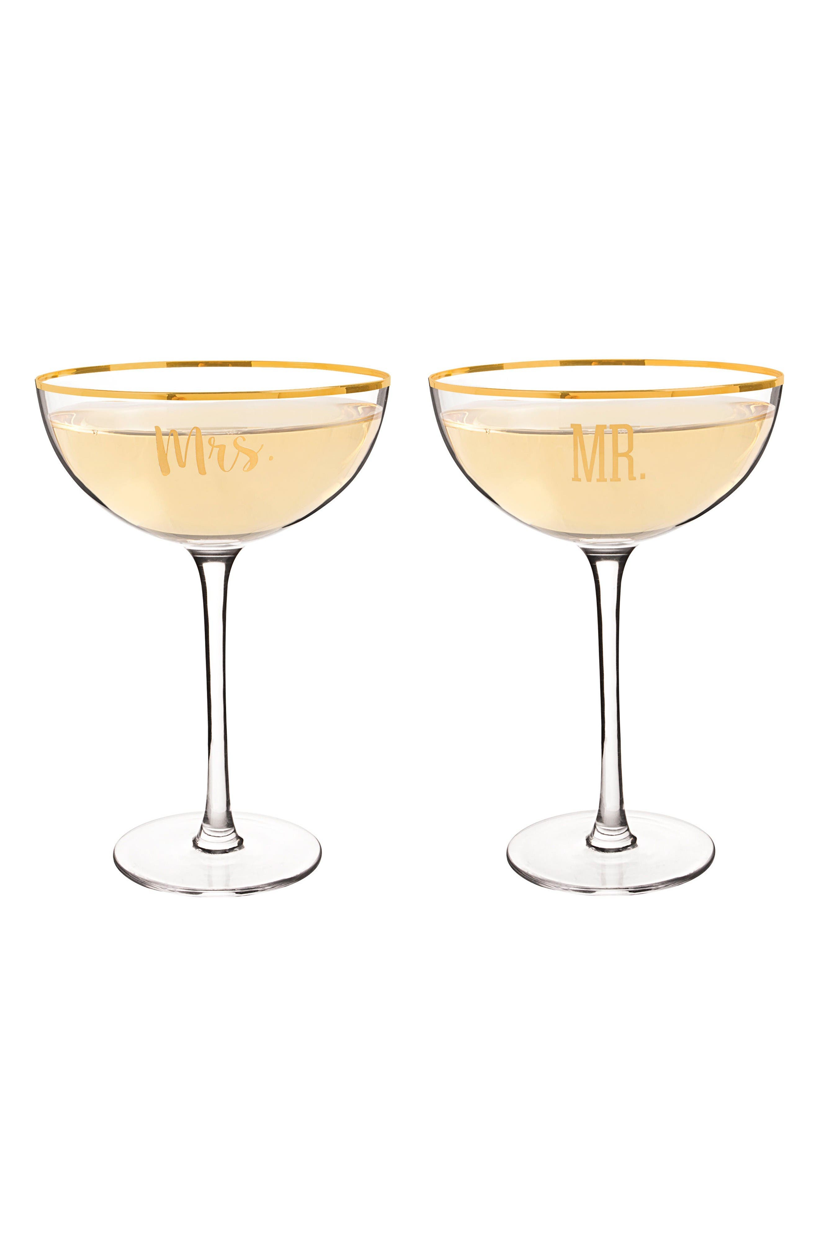 Mr. & Mrs. Set of 2 Champagne Coupe Toasting Glasses,                             Alternate thumbnail 2, color,                             Gold