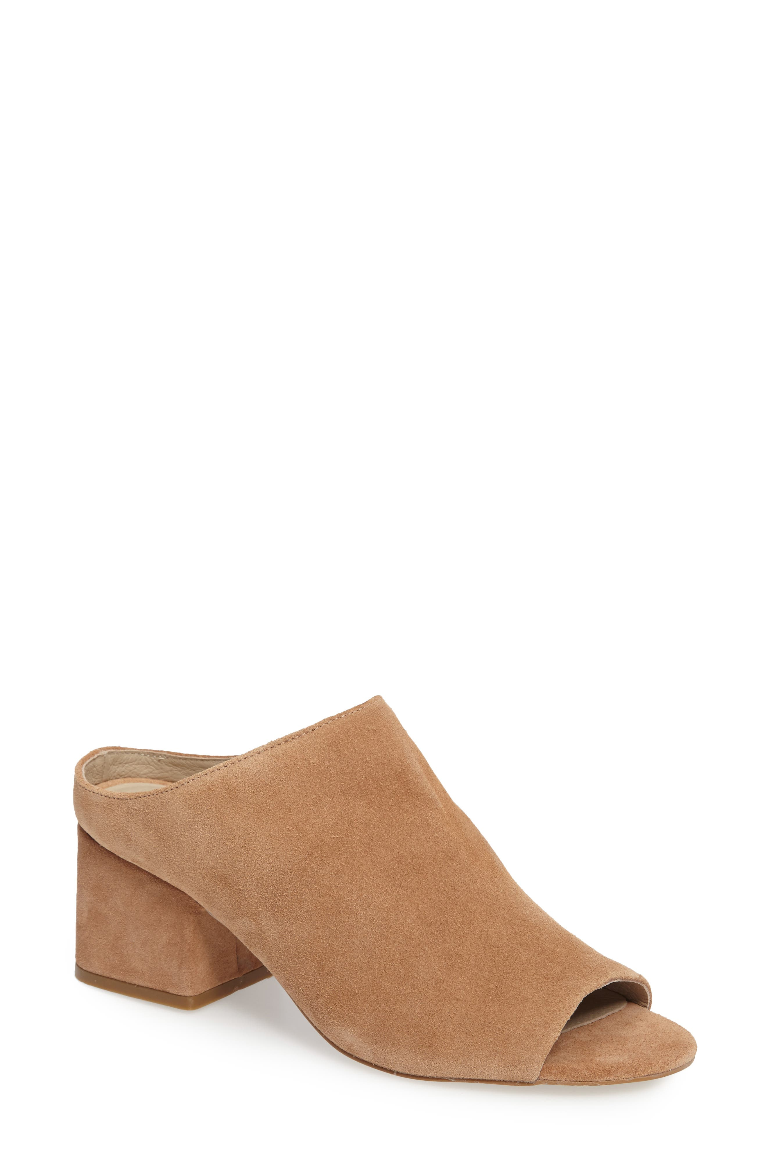 Misty Block Heel Mule,                             Main thumbnail 1, color,                             Natural Suede