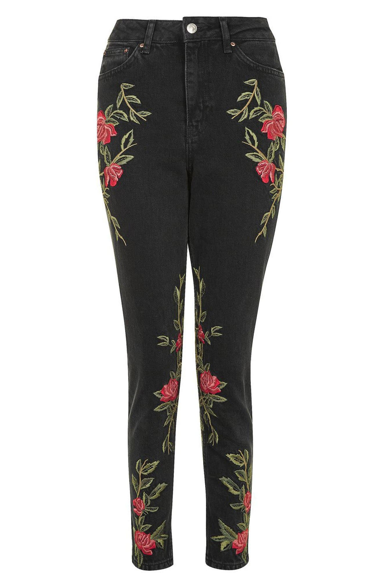 Alternate Image 4  - Topshop Rose Embroidered Mom Jeans (Petite)