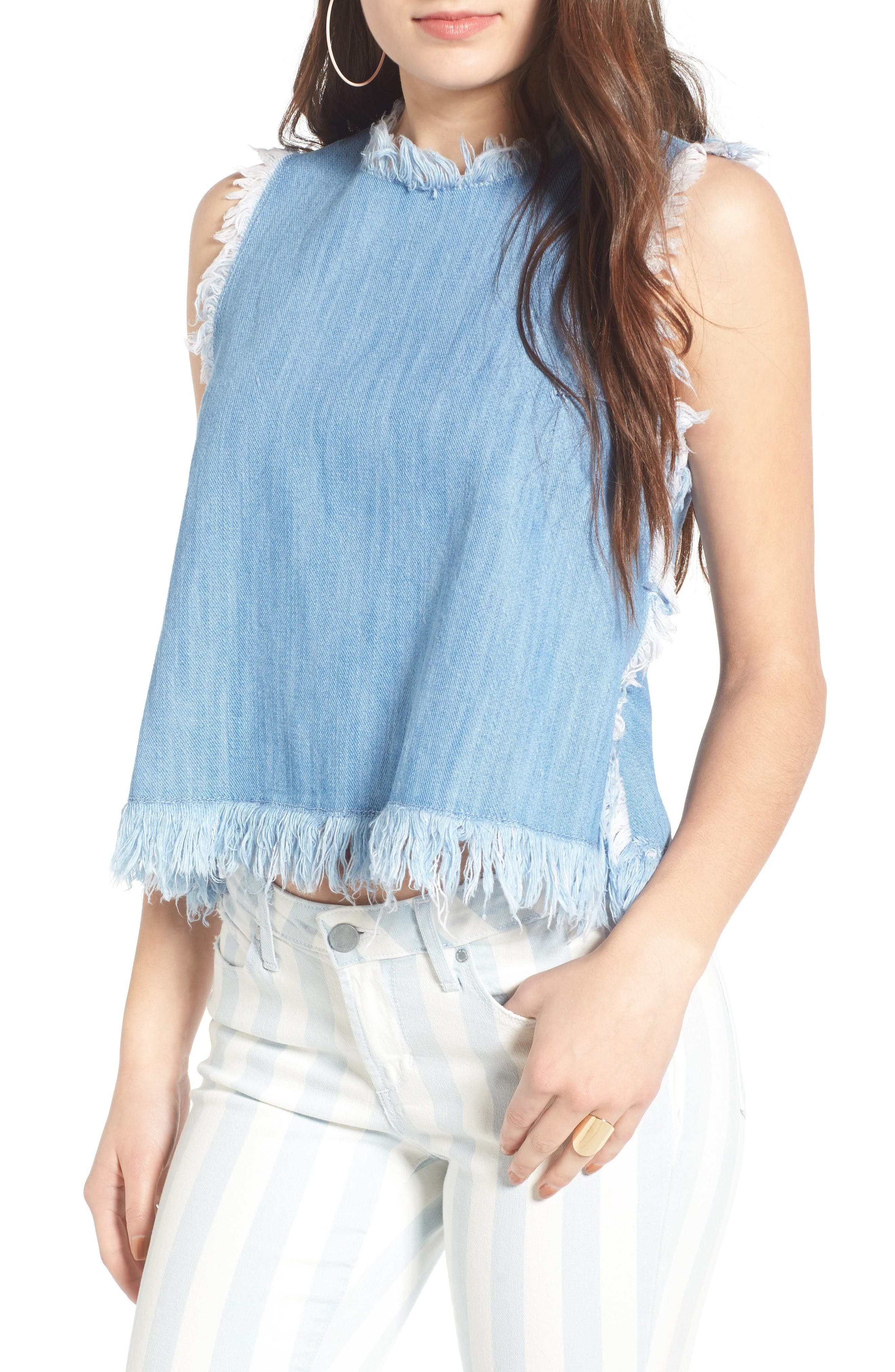 Raw Edge Denim Tank,                         Main,                         color, Light Wash