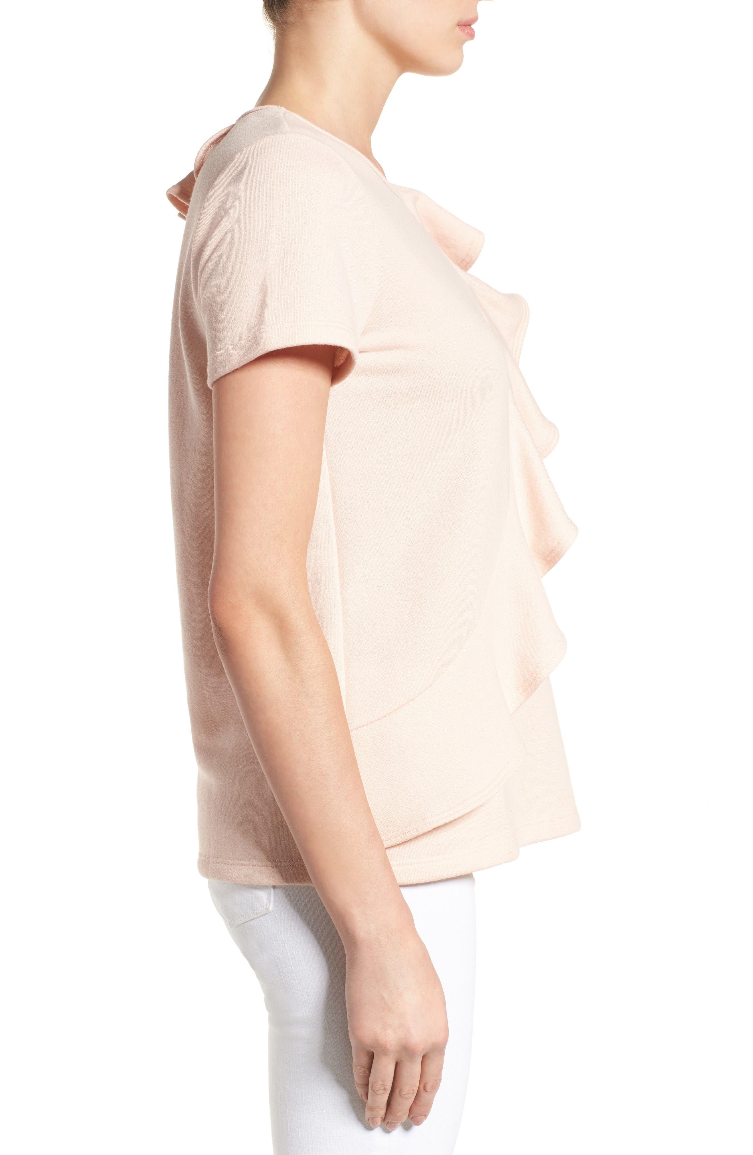 Alternate Image 3  - Pleione Asymmetrical Ruffle Sweatshirt (Regular & Petite)