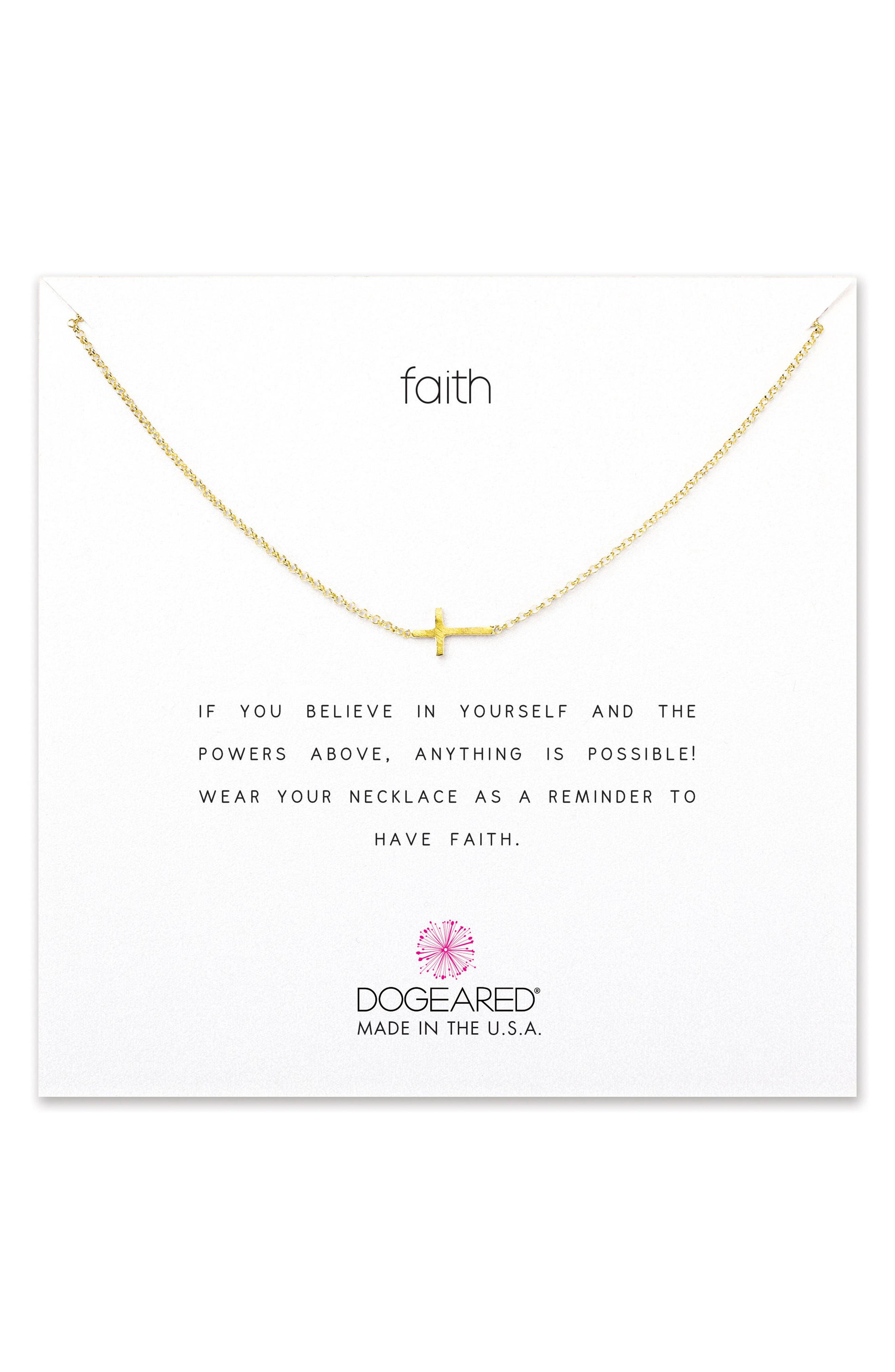Alternate Image 1 Selected - Dogeared 'Reminder - Faith' Sideways Cross Pendant Necklace