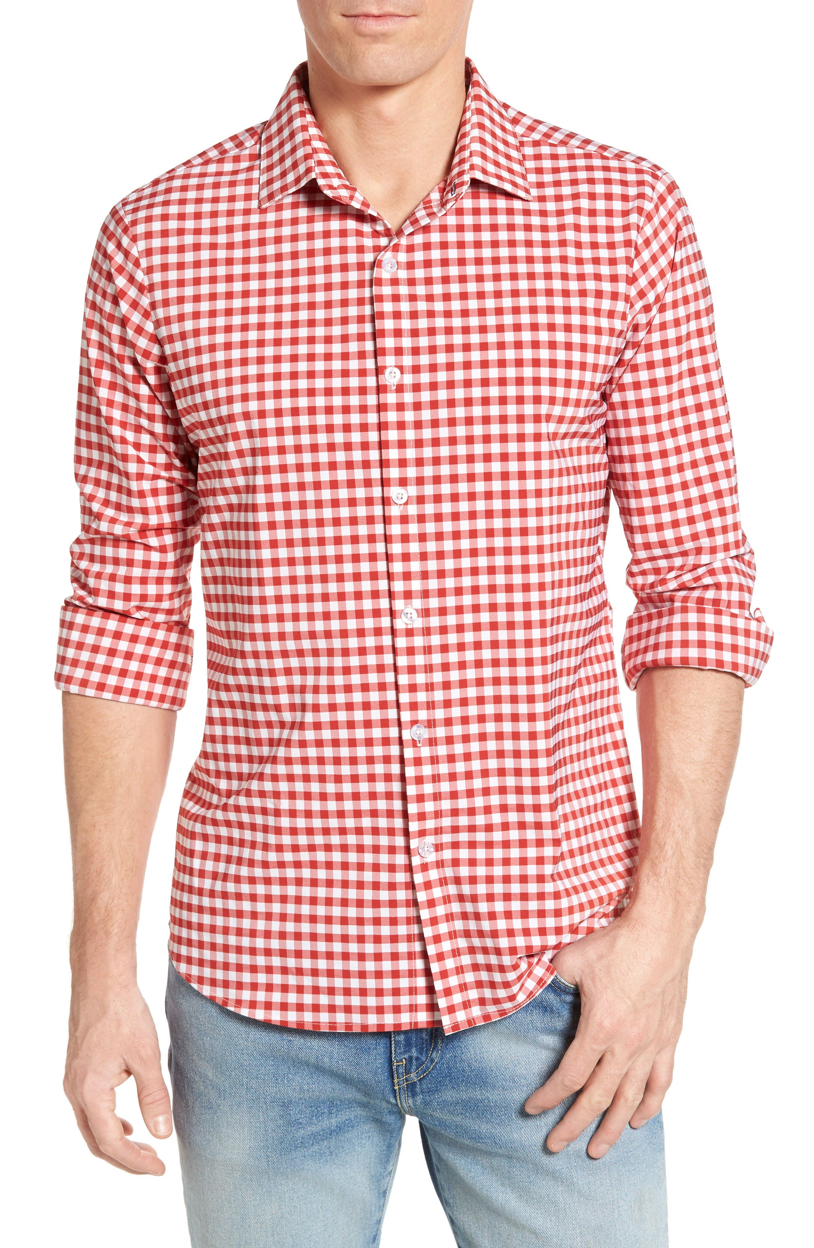 Main Image - Mizzen+Main Hatteras Gingham Performance Sport Shirt