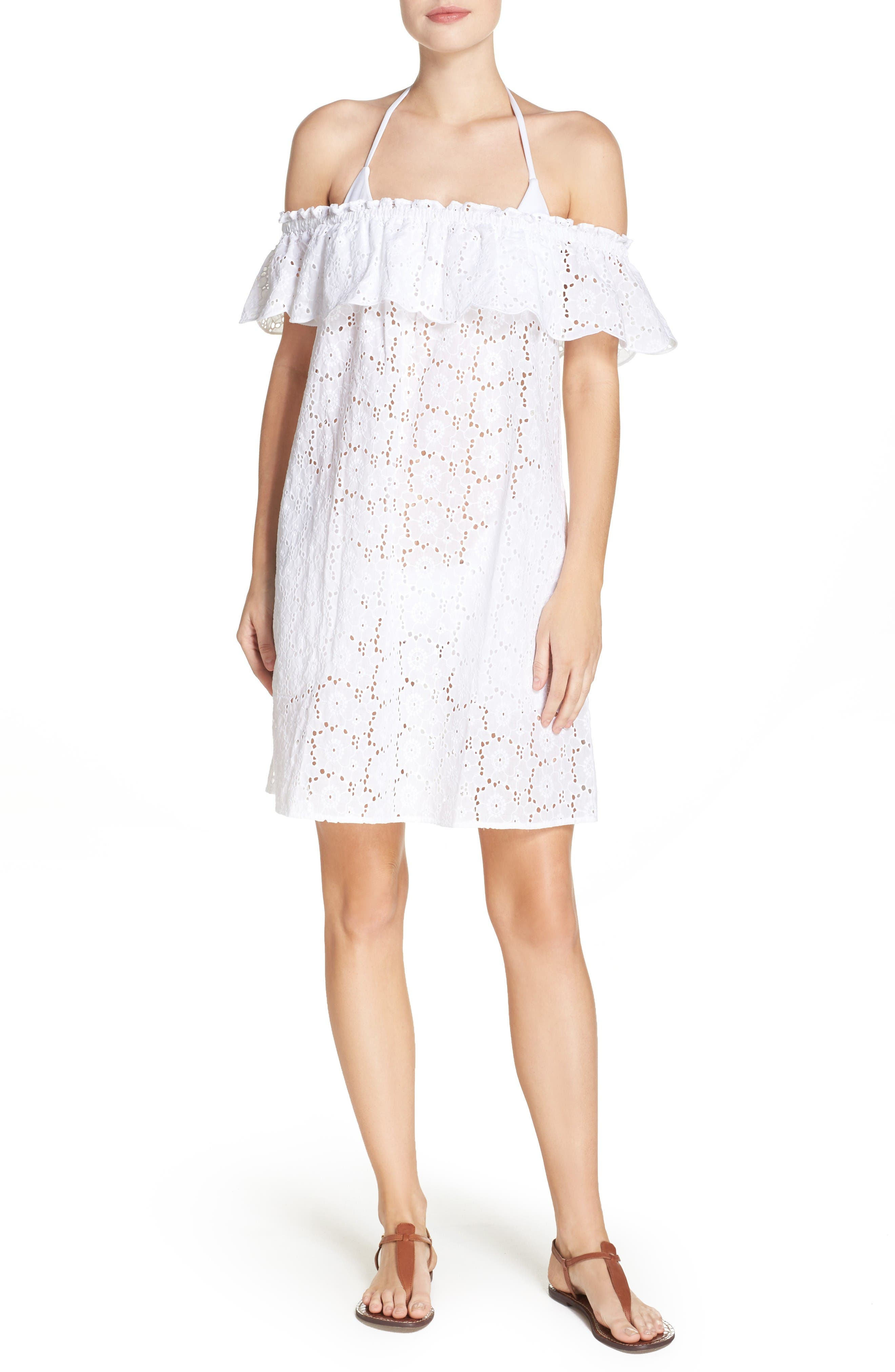 Tory Burch Broderie Off the Shoulder Cover-Up Dress
