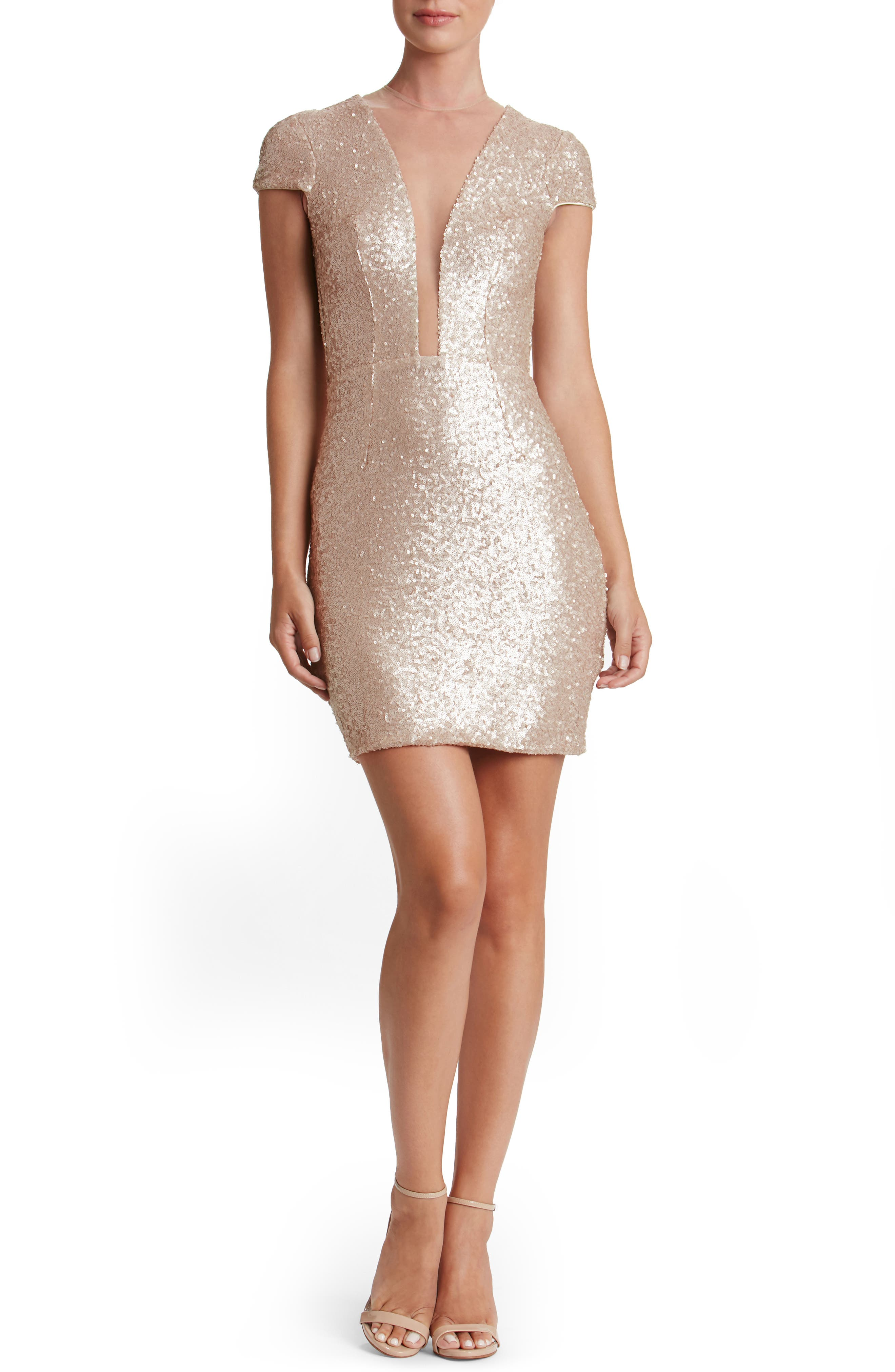 Kylie Sequin Minidress,                             Alternate thumbnail 3, color,                             Pale Blush