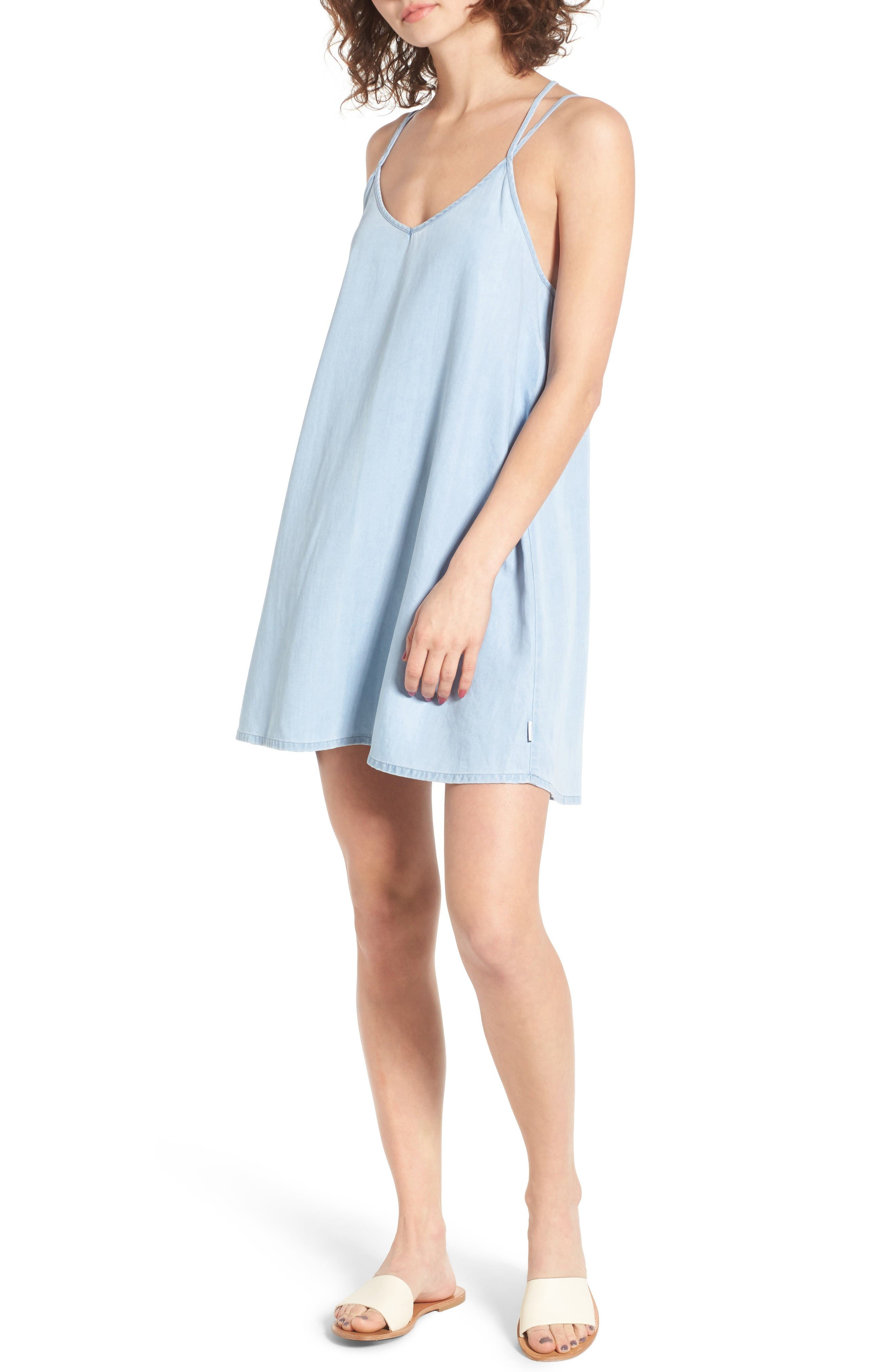 Alternate Image 1 Selected - RVCA Chambray Swing Dress
