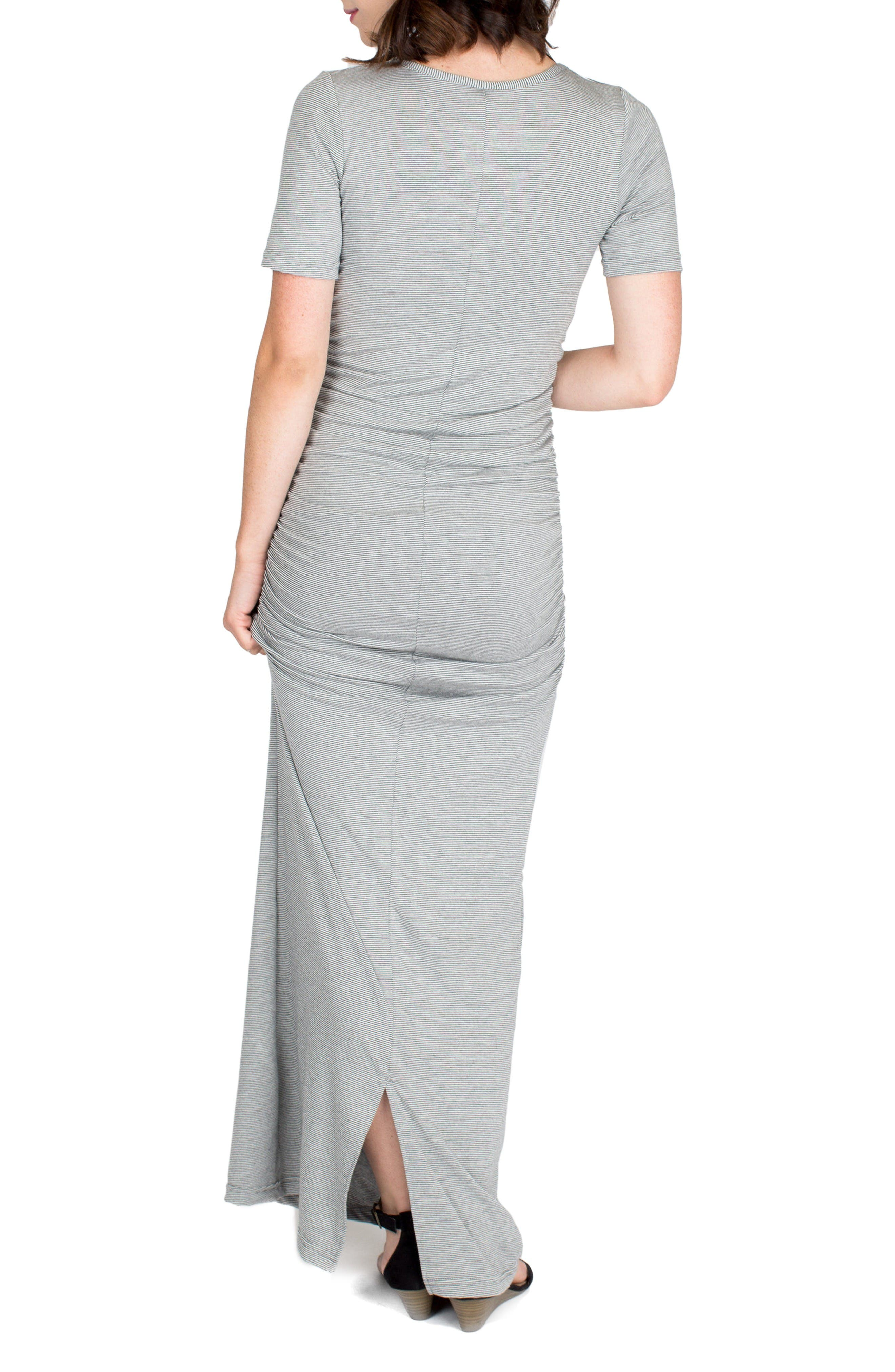'Heidi' Maxi Maternity Dress,                             Alternate thumbnail 3, color,                             Charcoal Microstripe