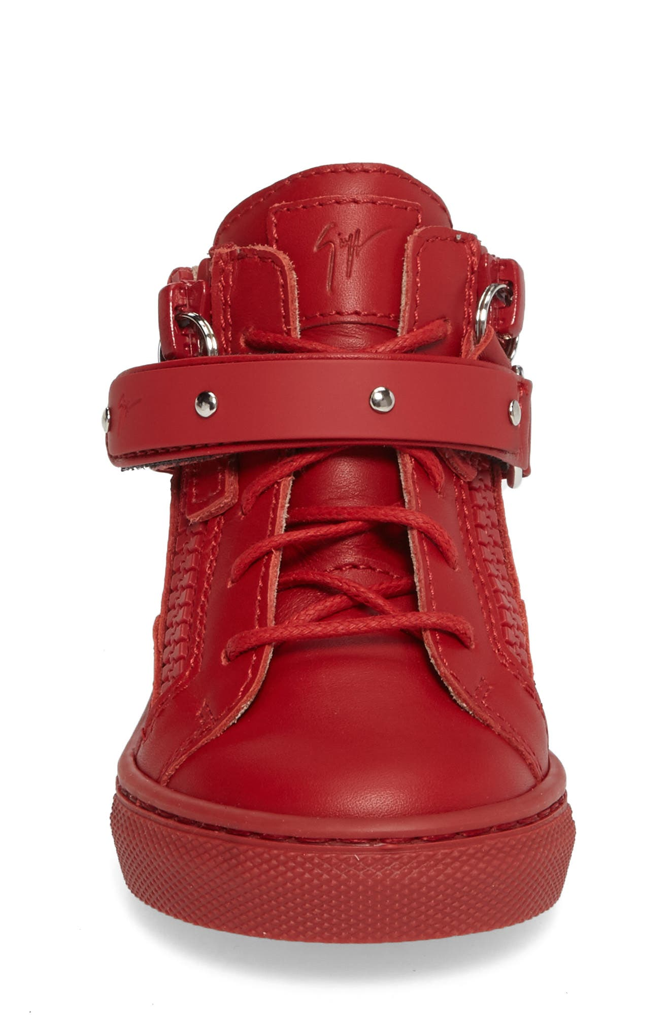 Taylor Junior High Top Sneaker,                             Alternate thumbnail 3, color,                             Red Leather