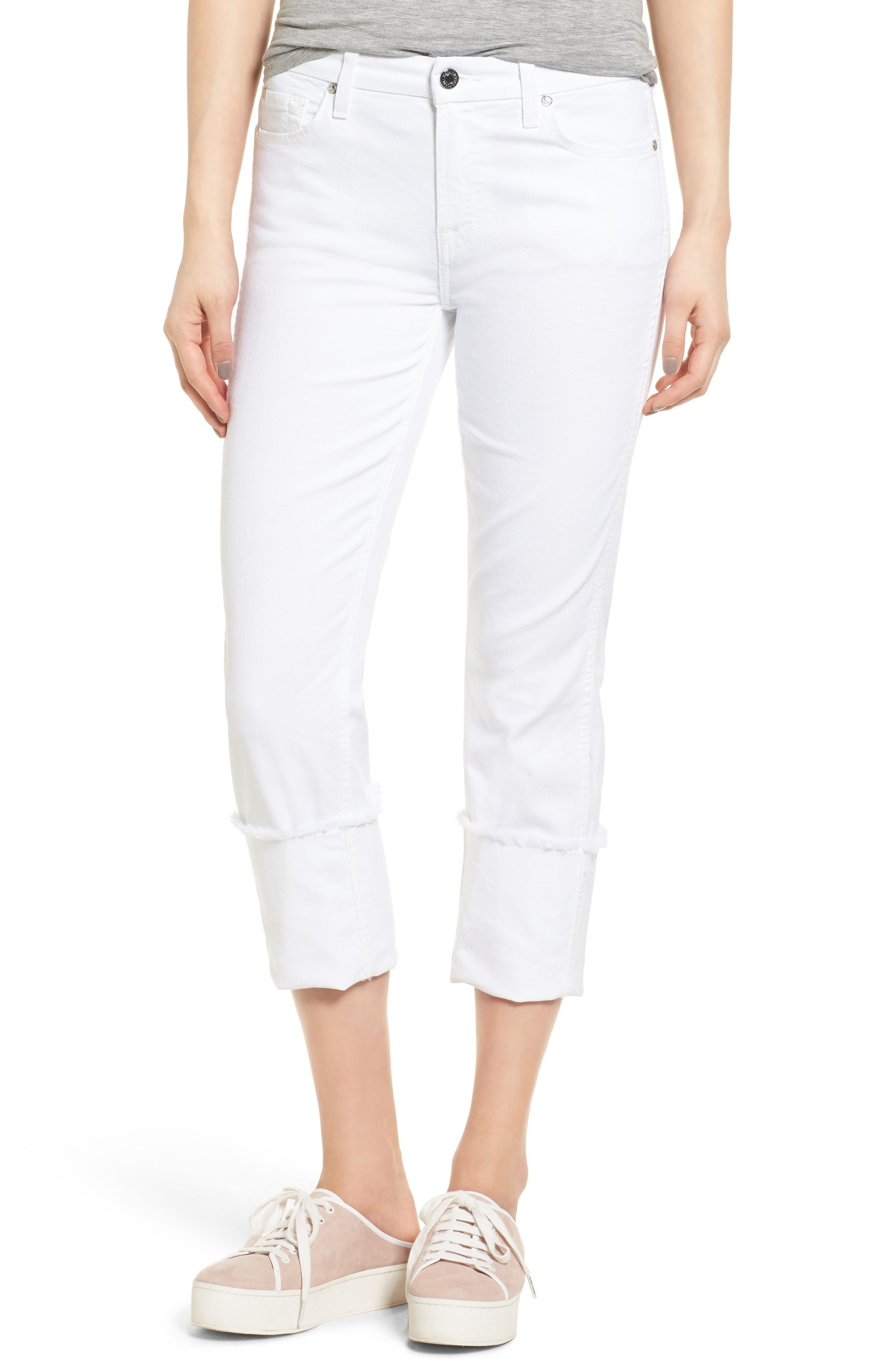 Fashion Boyfriend Raw Cuffed Jeans,                         Main,                         color, White Fashion