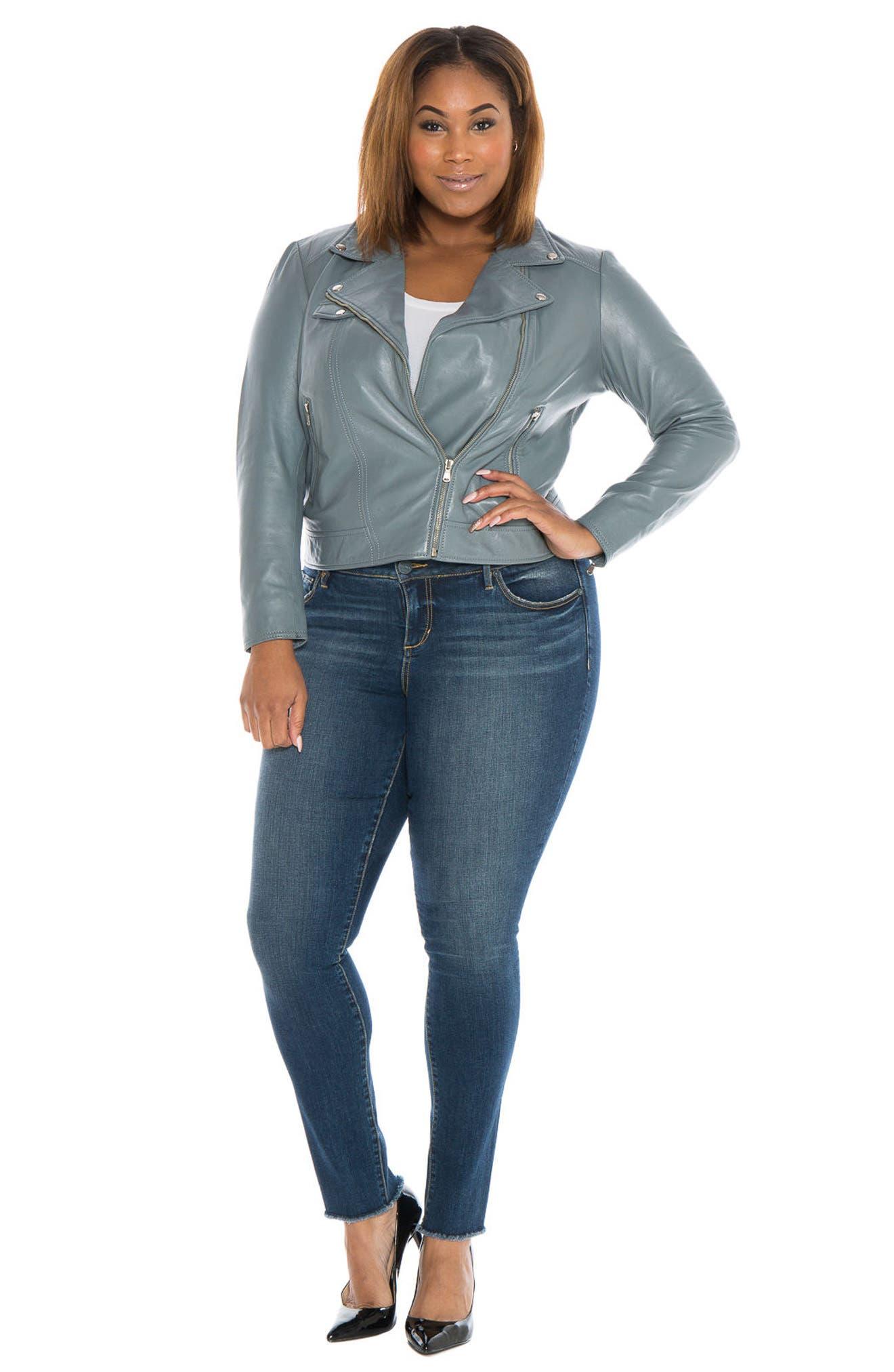 Alternate Image 2  - SLINK Jeans Crop Leather Moto Jacket (Plus)