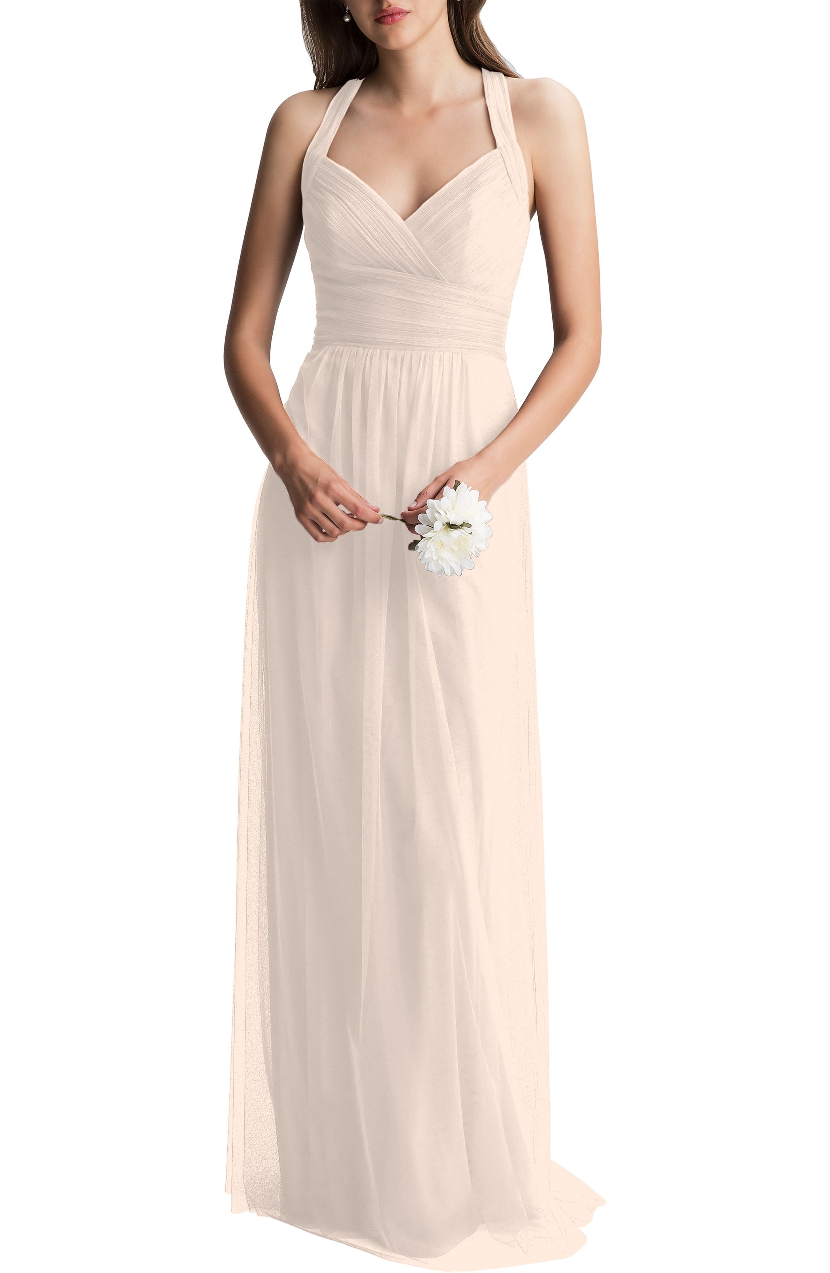 #Levkoff Crisscross Strap English Net A-Line Gown