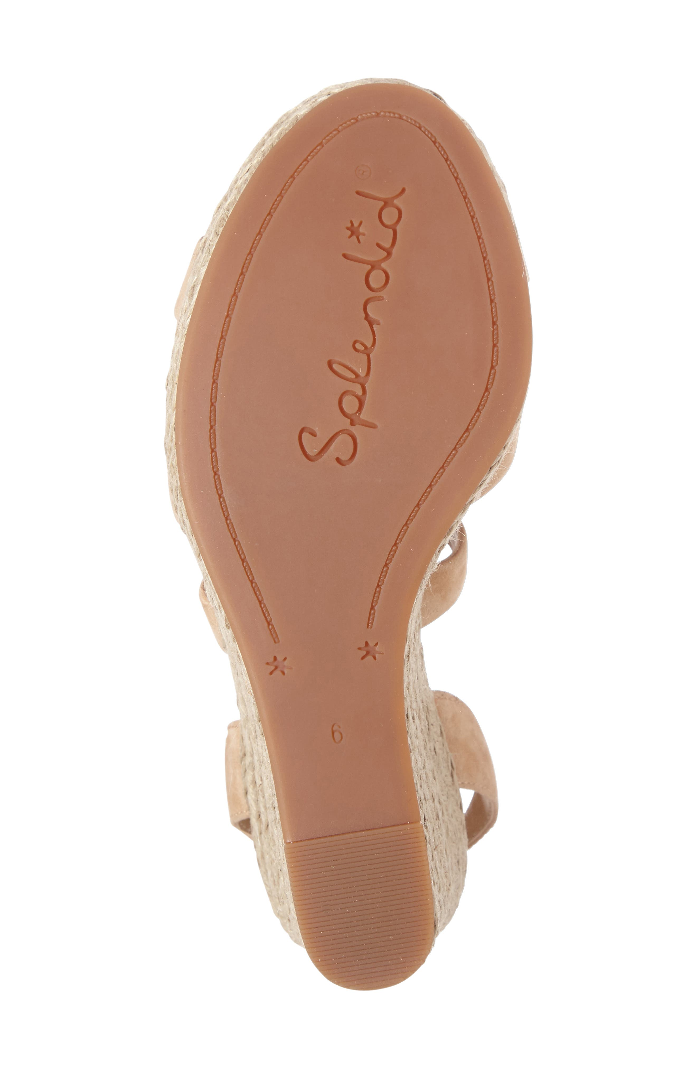 Janice Espadrille Wedge Sandal,                             Alternate thumbnail 4, color,                             Nude Suede