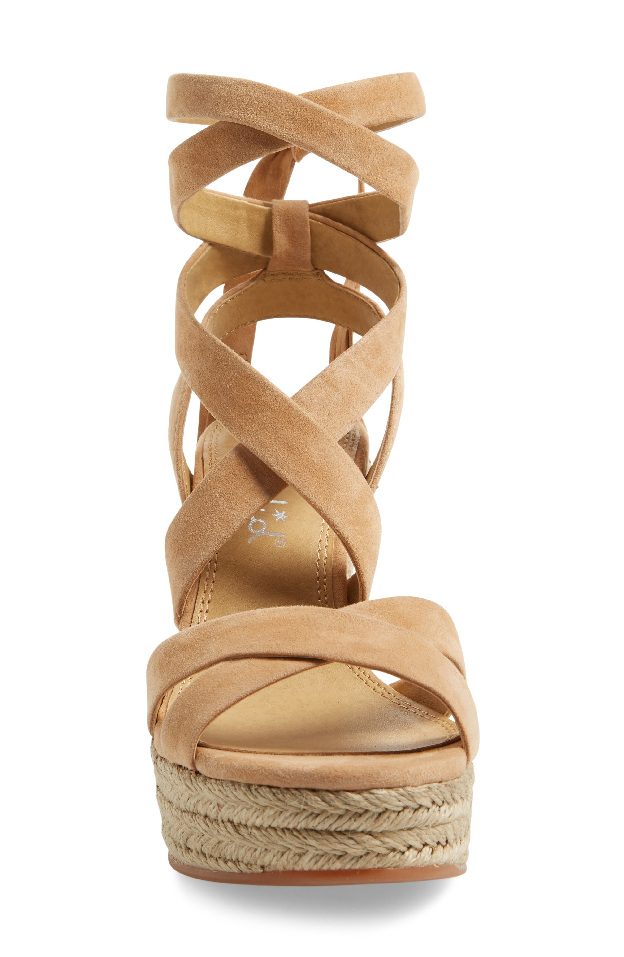 Janice Espadrille Wedge Sandal,                             Alternate thumbnail 3, color,                             Nude Suede