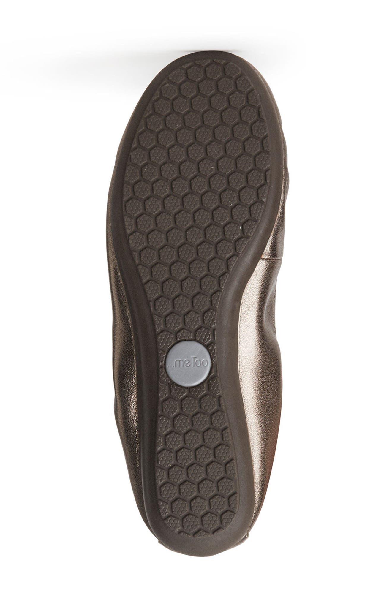 Janell Sliver Wedge Flat,                             Alternate thumbnail 4, color,                             Mink Metallic Leather