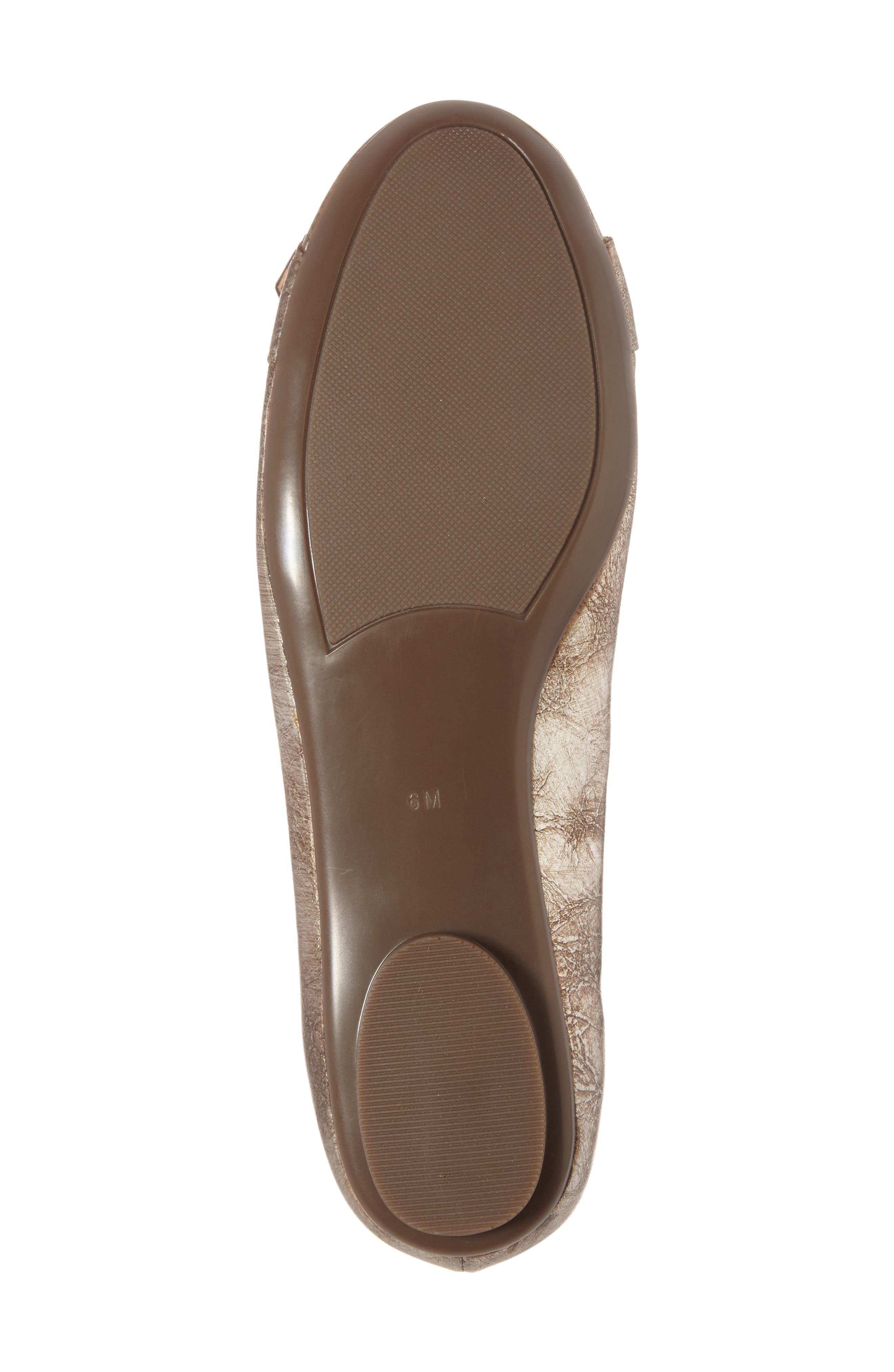 Solana Buckle Flat,                             Alternate thumbnail 4, color,                             Platino Leather
